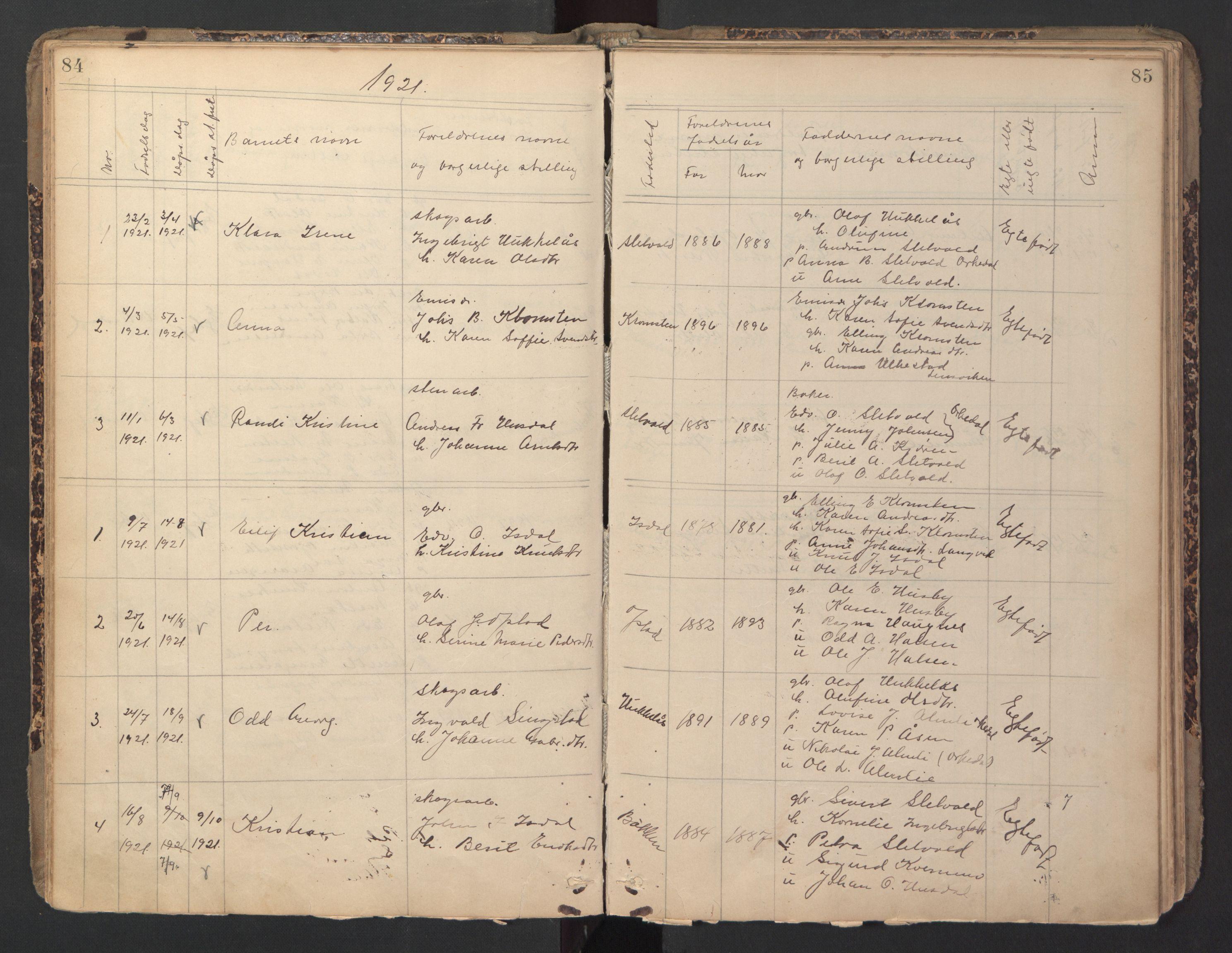SAT, Ministerialprotokoller, klokkerbøker og fødselsregistre - Sør-Trøndelag, 670/L0837: Klokkerbok nr. 670C01, 1905-1946, s. 84-85