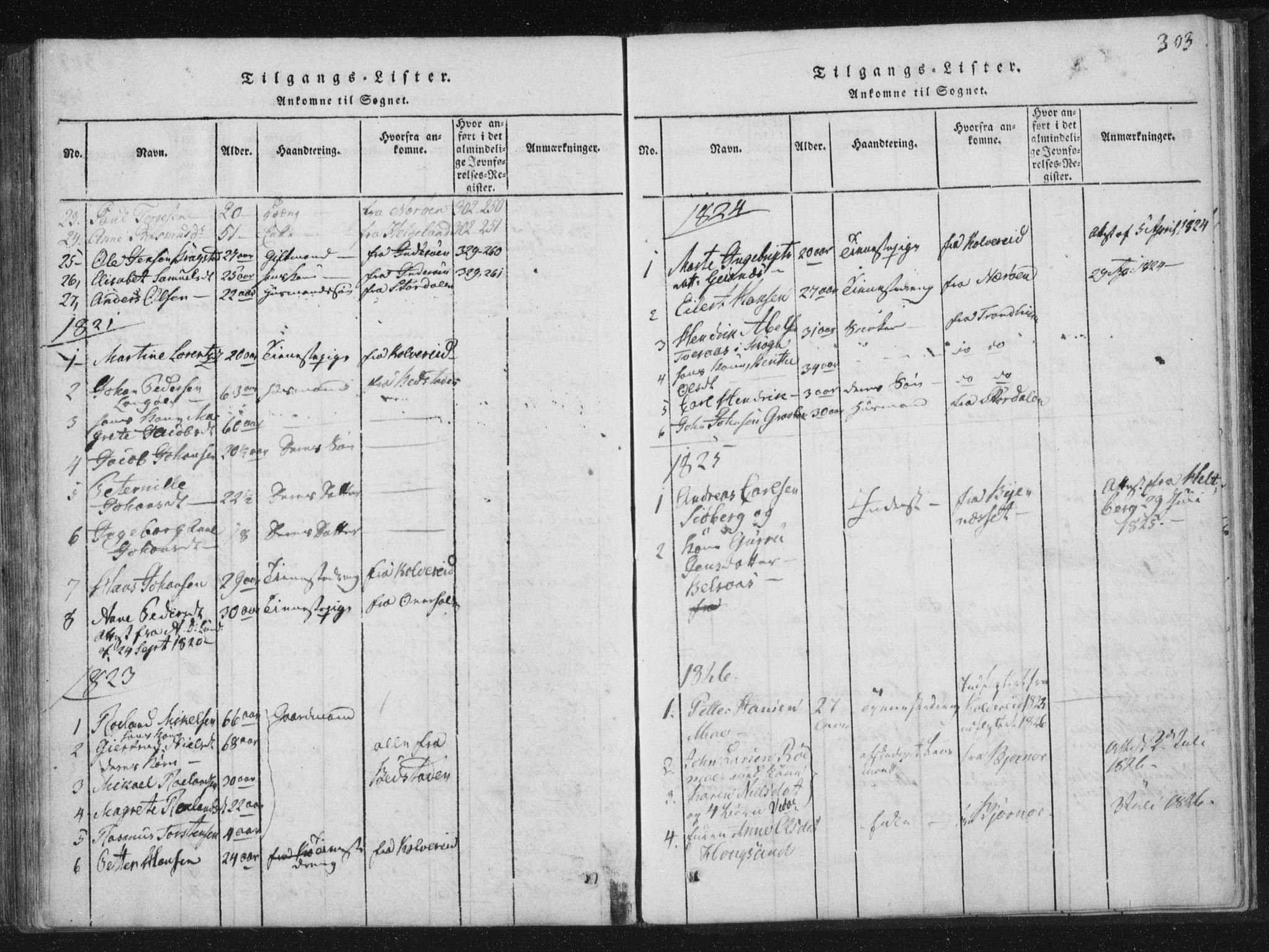 SAT, Ministerialprotokoller, klokkerbøker og fødselsregistre - Nord-Trøndelag, 773/L0609: Ministerialbok nr. 773A03 /1, 1815-1830, s. 303