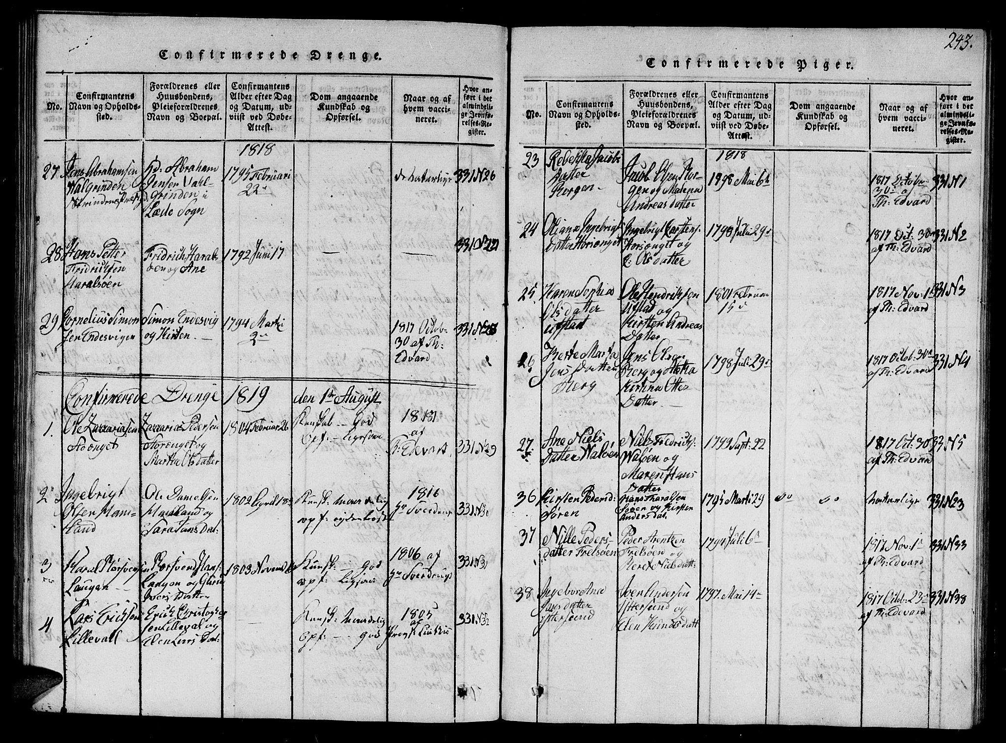 SAT, Ministerialprotokoller, klokkerbøker og fødselsregistre - Nord-Trøndelag, 784/L0679: Klokkerbok nr. 784C01 /1, 1816-1822, s. 243
