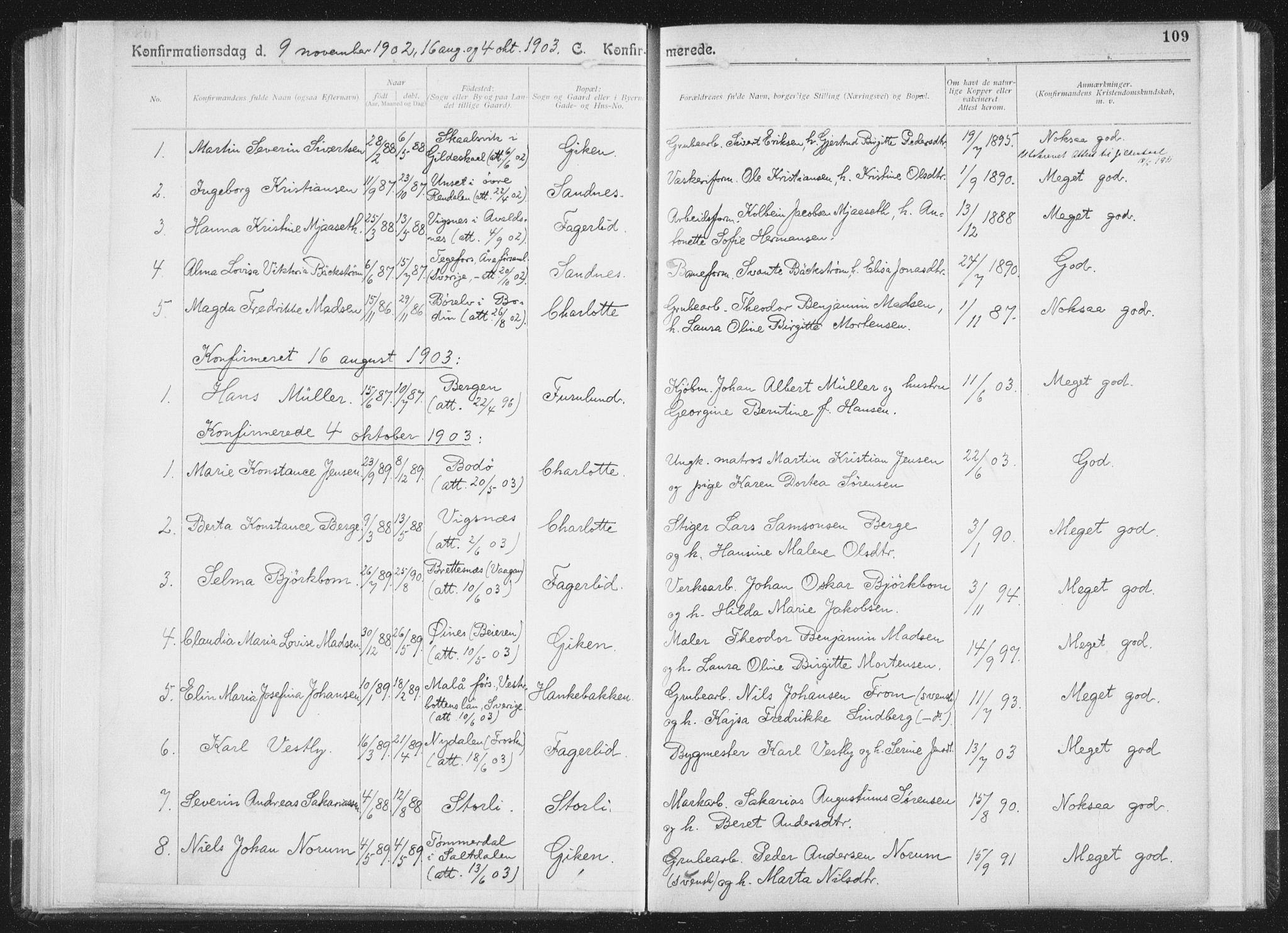 SAT, Ministerialprotokoller, klokkerbøker og fødselsregistre - Nordland, 850/L0711: Residerende kapellans bok nr. 850B01, 1902-1915, s. 109