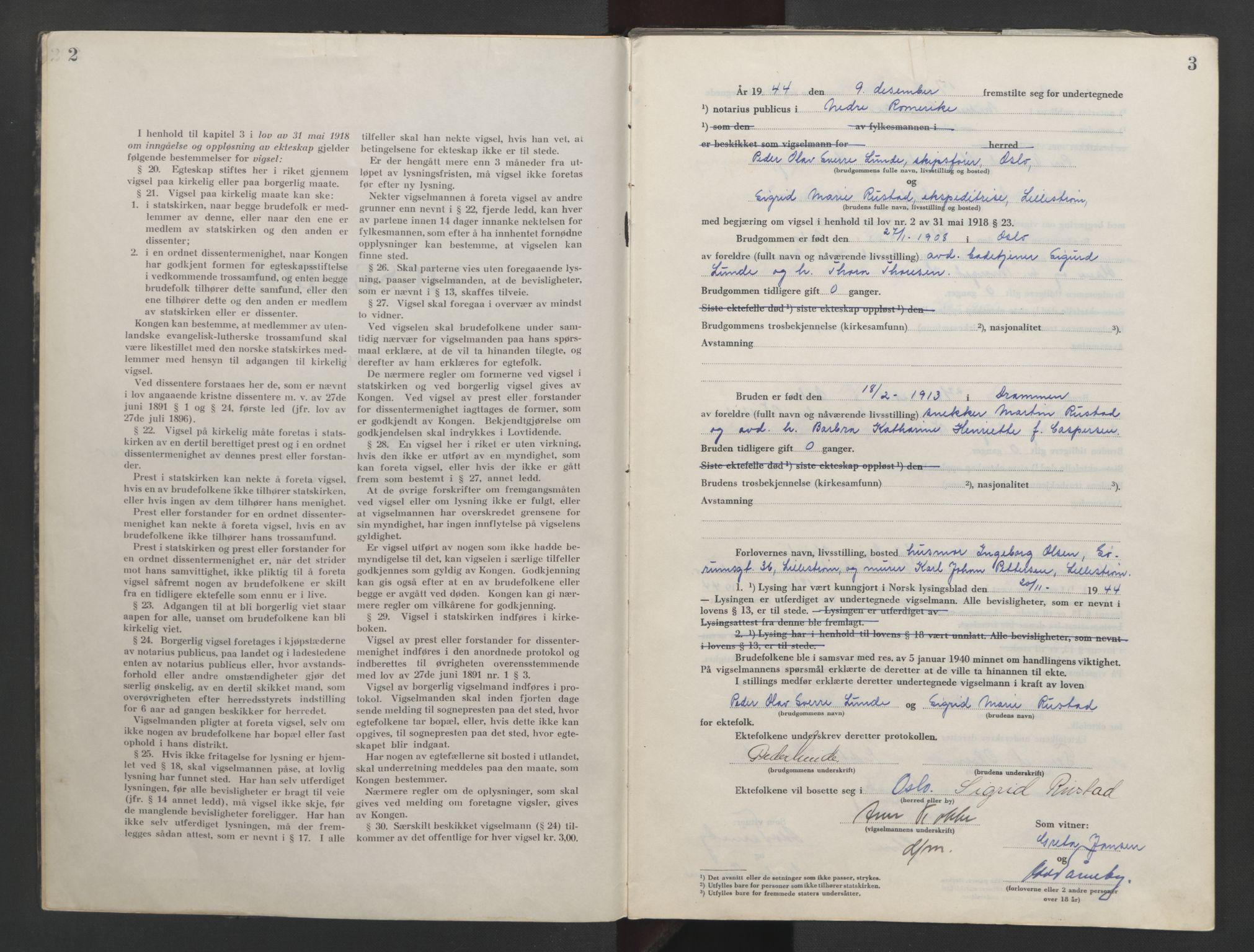 SAO, Nedre Romerike sorenskriveri, L/Lb/L0006: Vigselsbok - borgerlige vielser, 1944-1946, s. 2-3