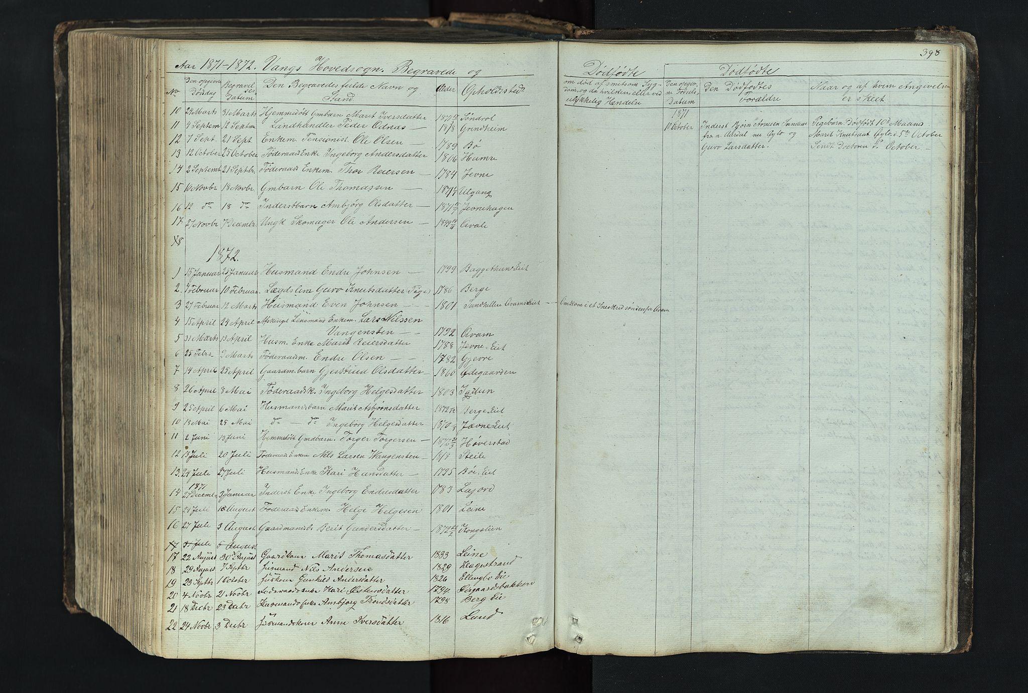 SAH, Vang prestekontor, Valdres, Klokkerbok nr. 4, 1835-1892, s. 398