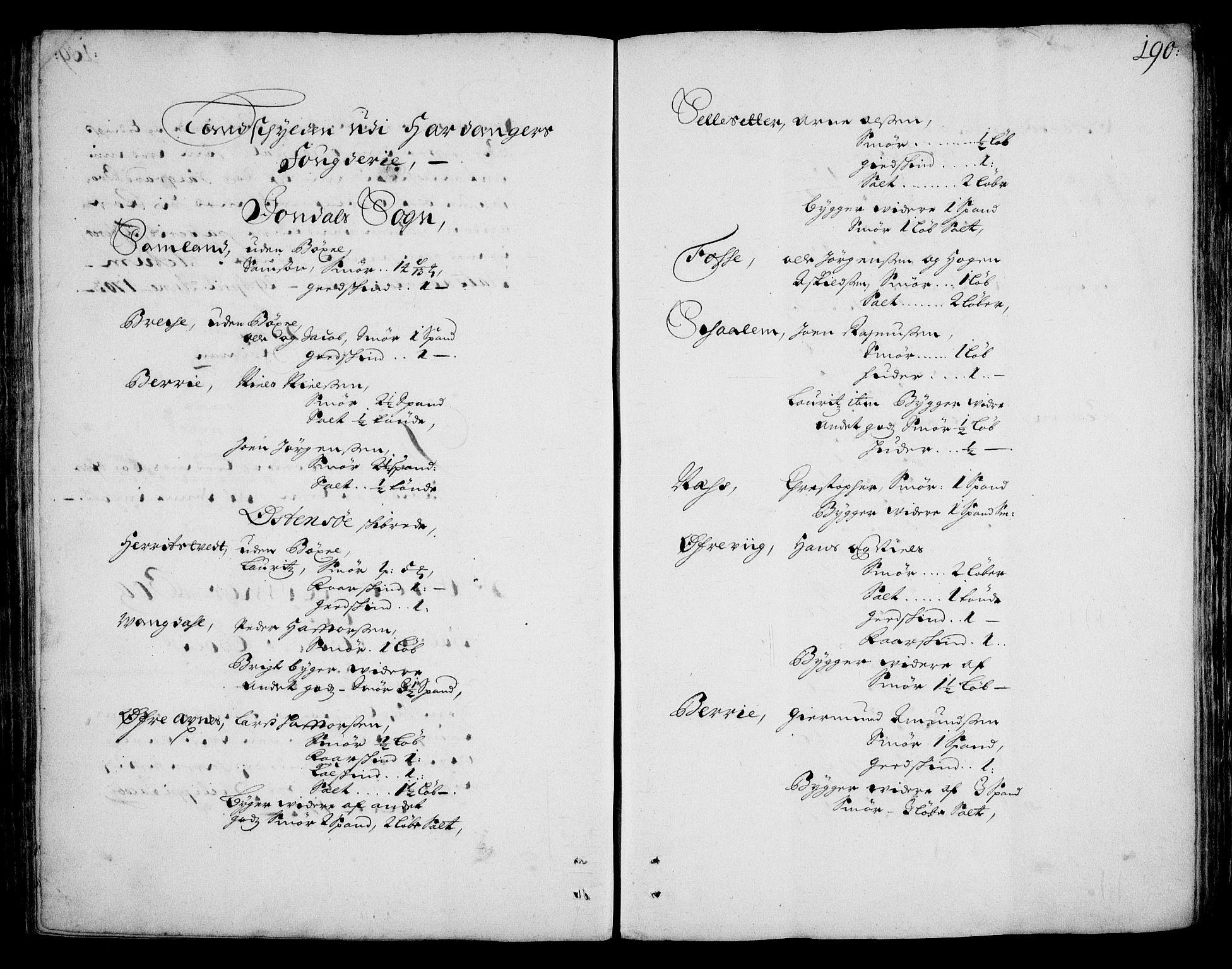 RA, Rentekammeret inntil 1814, Realistisk ordnet avdeling, On/L0002: [Jj 3]: Besiktigelsesforretninger over Halsnøy klosters gods, 1659-1703, s. 189b-190a