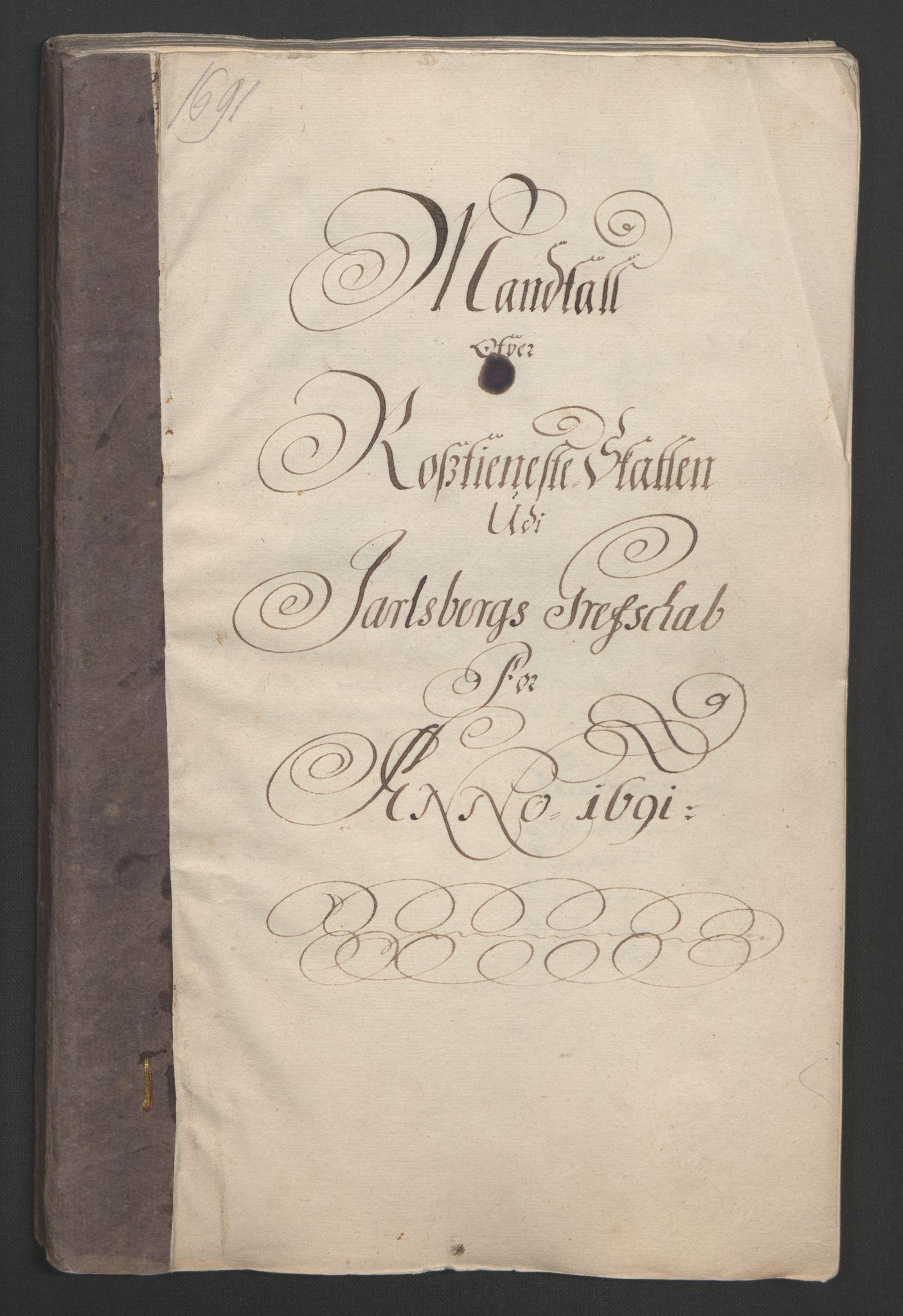 RA, Rentekammeret inntil 1814, Reviderte regnskaper, Fogderegnskap, R32/L1864: Fogderegnskap Jarlsberg grevskap, 1691, s. 243