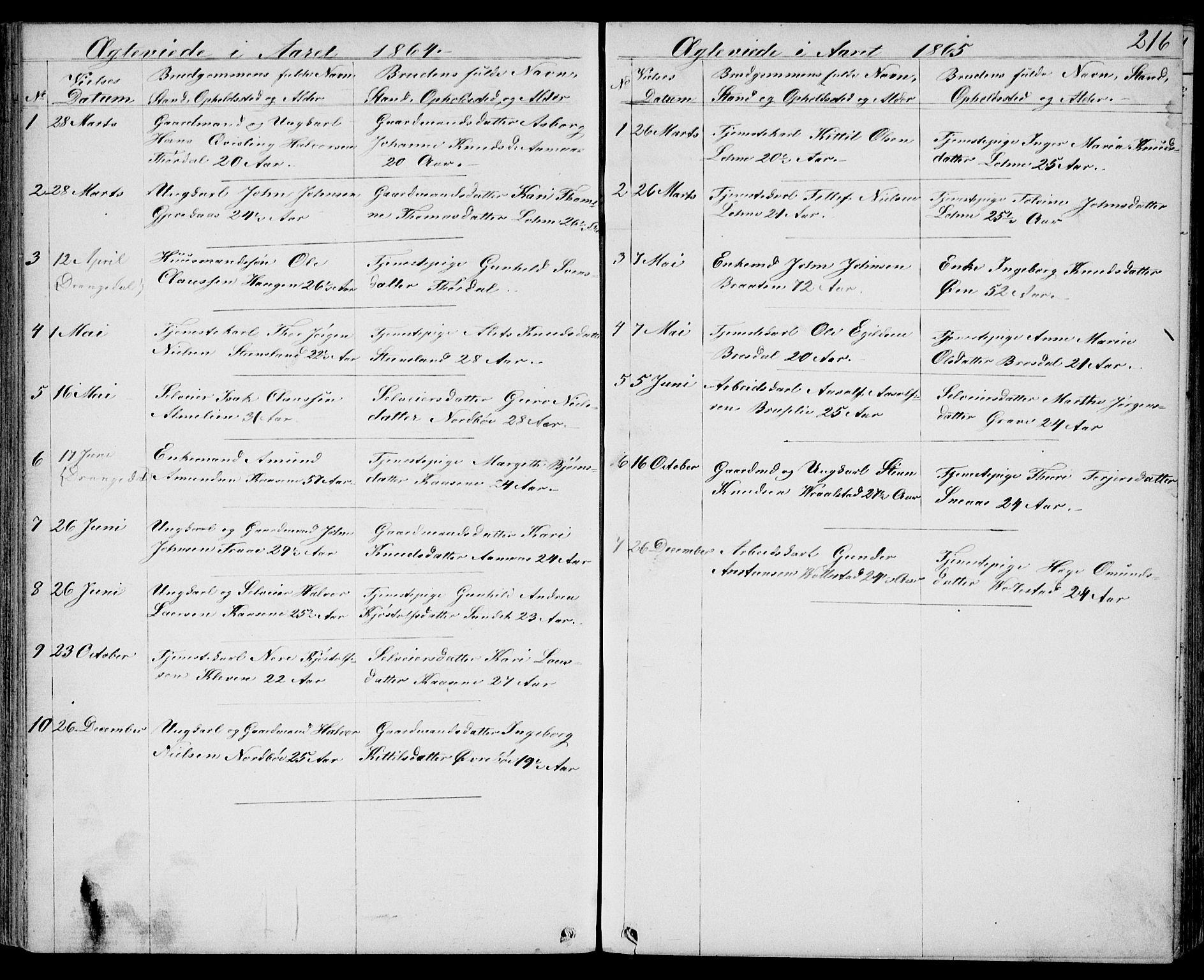 SAKO, Drangedal kirkebøker, G/Gb/L0001: Klokkerbok nr. II 1, 1856-1894, s. 216