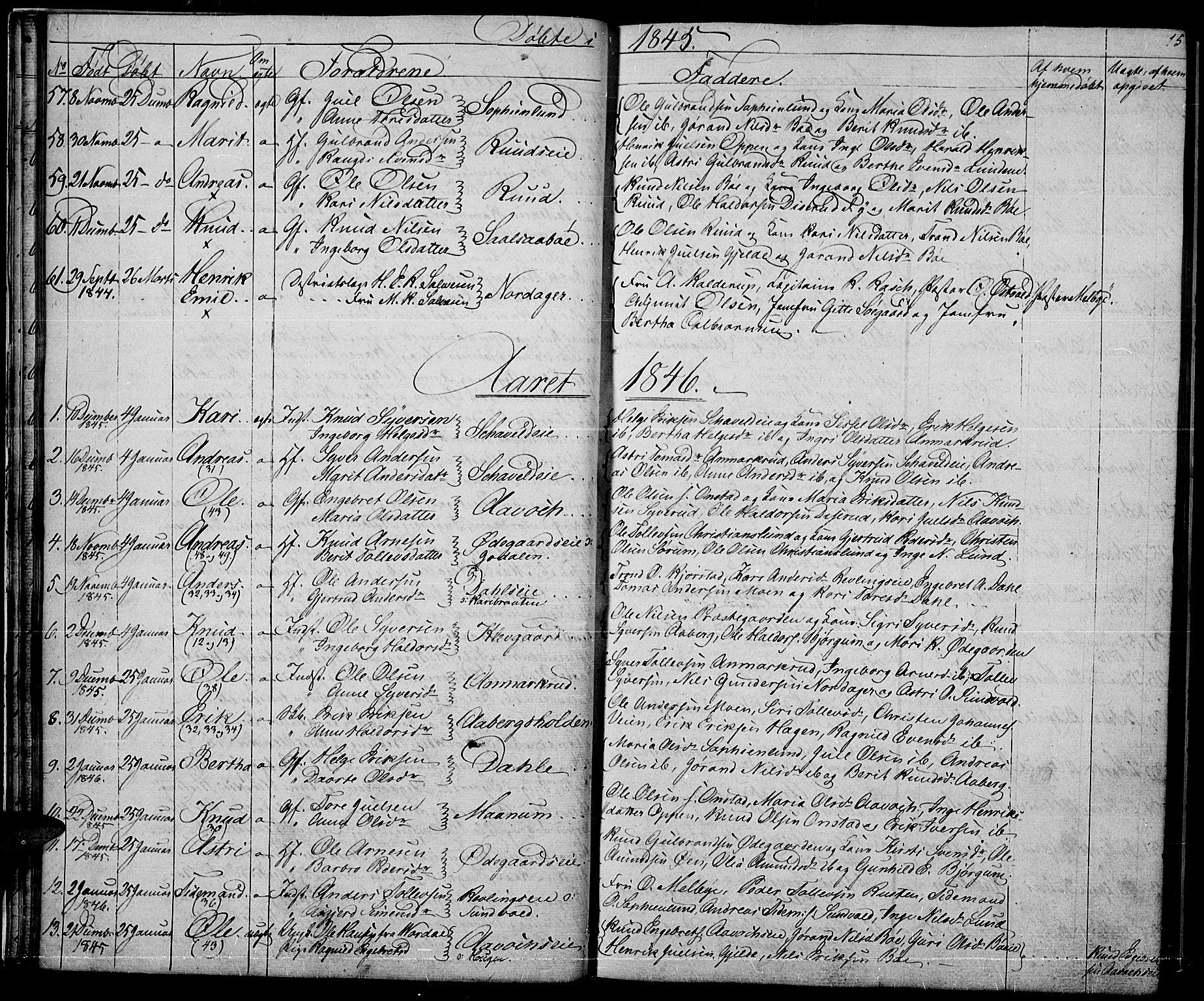 SAH, Nord-Aurdal prestekontor, Klokkerbok nr. 2, 1842-1877, s. 15