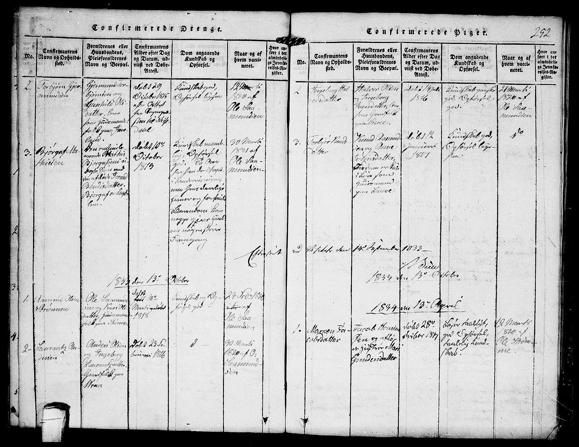 SAKO, Kviteseid kirkebøker, F/Fc/L0001: Ministerialbok nr. III 1, 1815-1836, s. 252