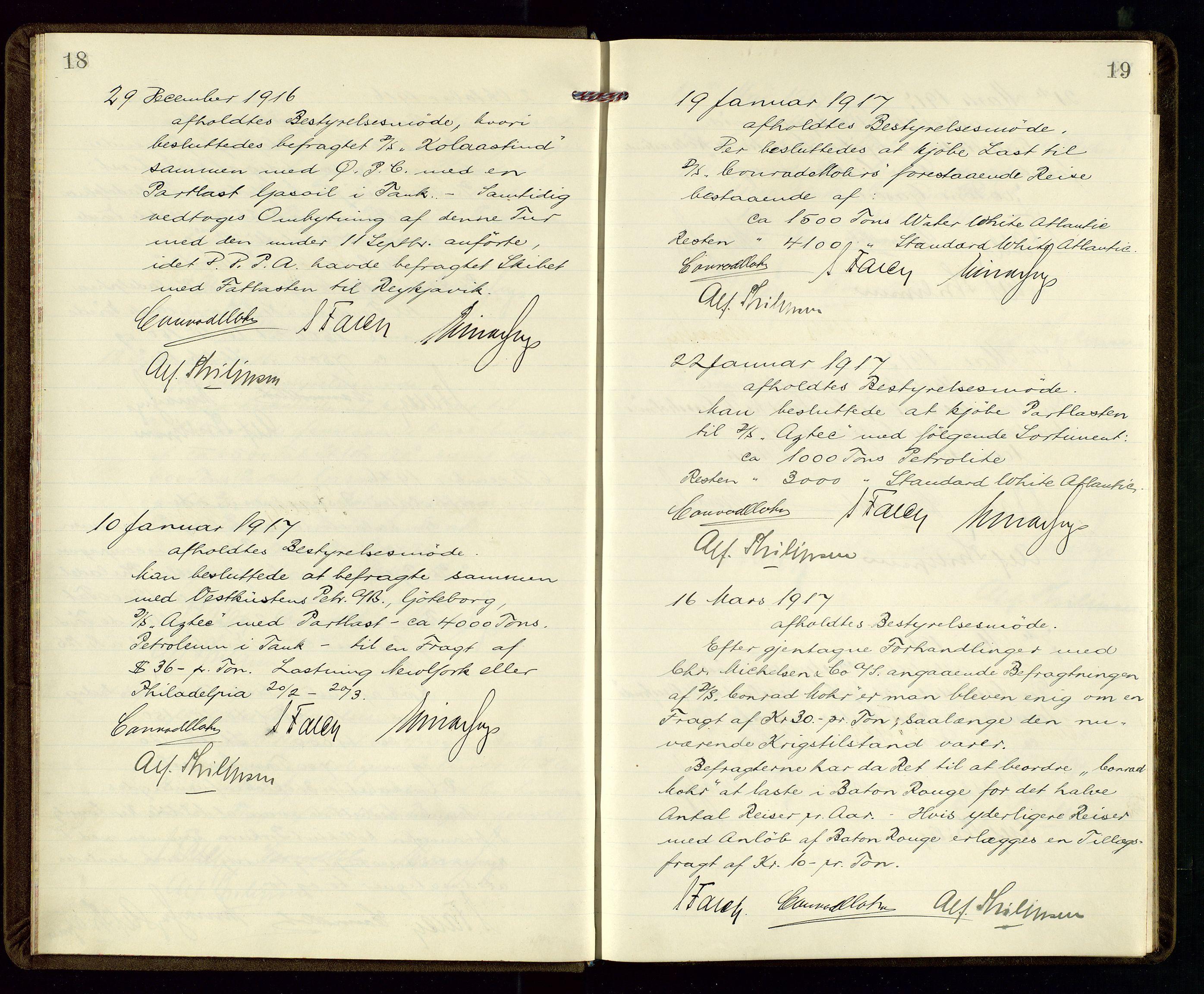 SAST, PA 1533 - A/S Vestlandske Petroleumscompani, A/Aa/L0001: Generalforsamlinger og styreprotokoller, 1915-1922, s. 18-19