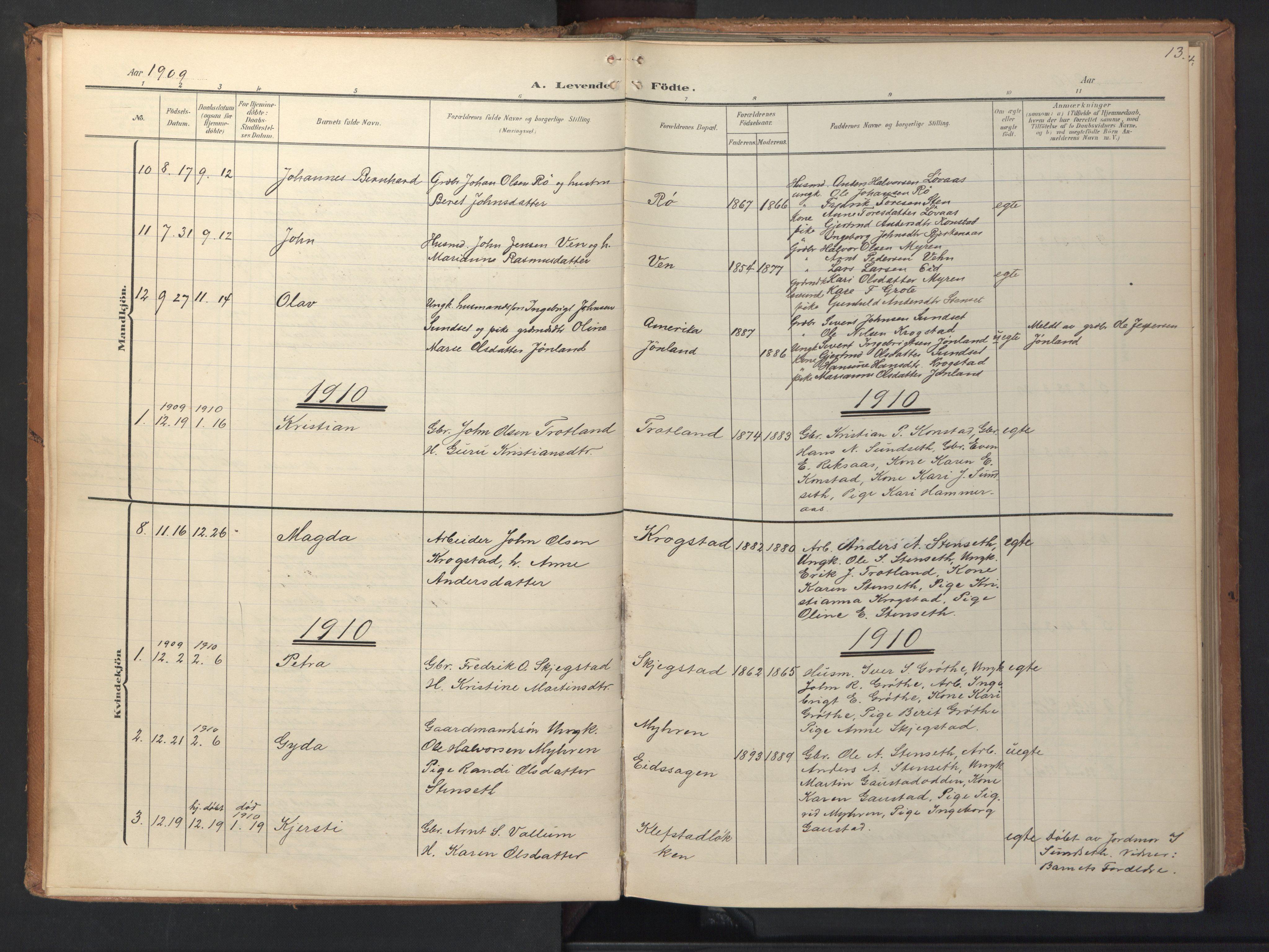 SAT, Ministerialprotokoller, klokkerbøker og fødselsregistre - Sør-Trøndelag, 694/L1128: Ministerialbok nr. 694A02, 1906-1931, s. 13