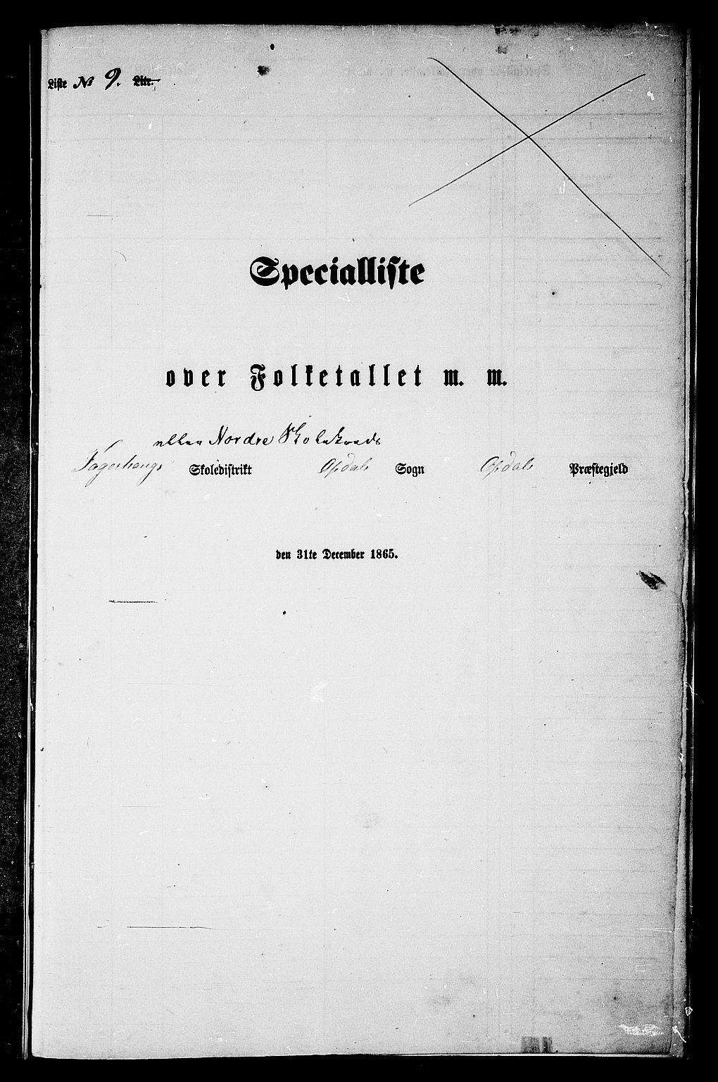 RA, Folketelling 1865 for 1634P Oppdal prestegjeld, 1865, s. 186