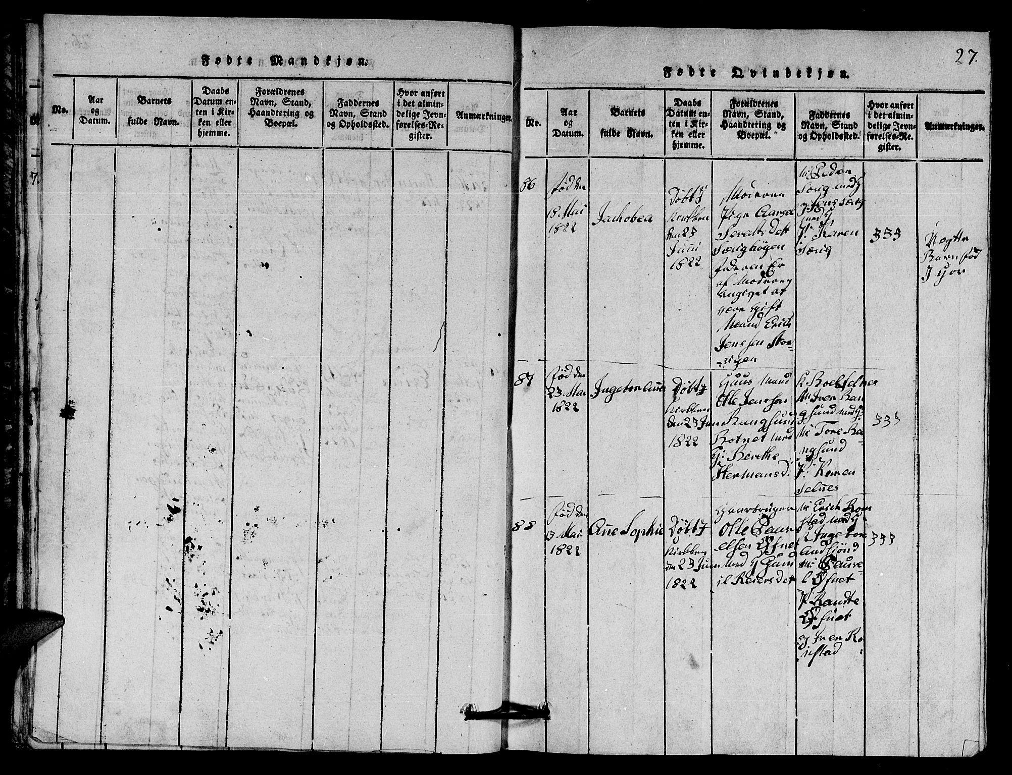 SAT, Ministerialprotokoller, klokkerbøker og fødselsregistre - Nord-Trøndelag, 770/L0590: Klokkerbok nr. 770C01, 1815-1824, s. 27