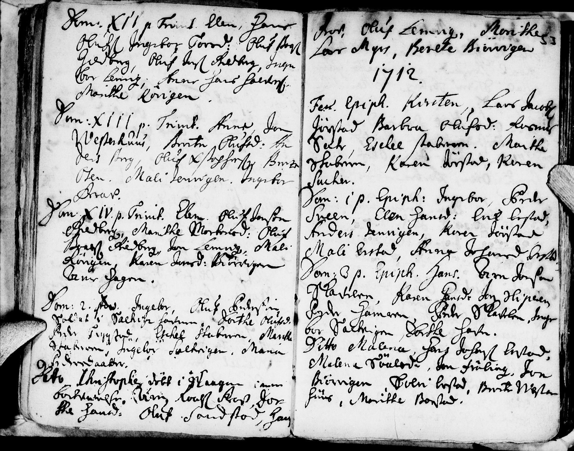 SAT, Ministerialprotokoller, klokkerbøker og fødselsregistre - Nord-Trøndelag, 722/L0214: Ministerialbok nr. 722A01, 1692-1718, s. 53