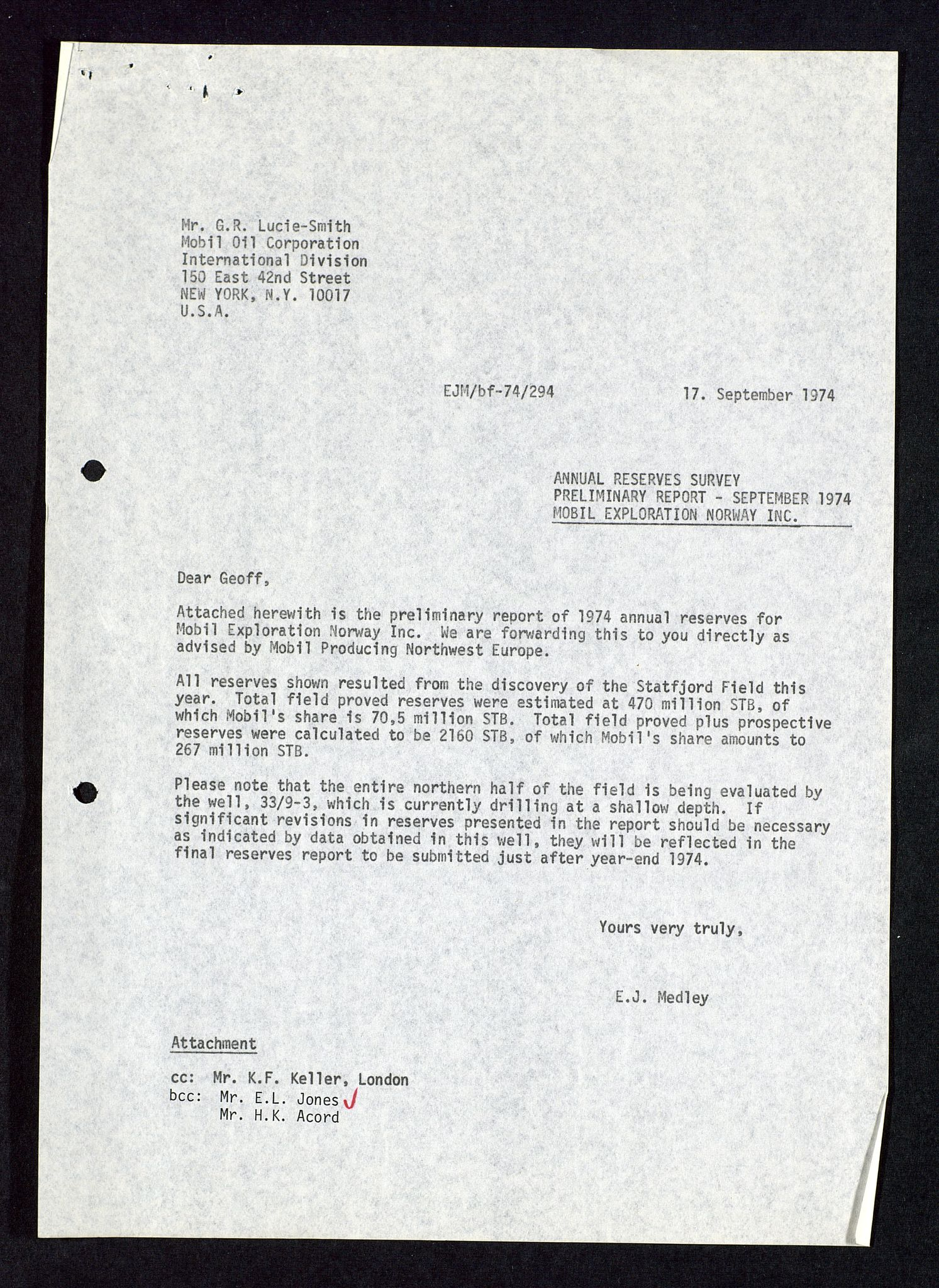 SAST, Pa 1578 - Mobil Exploration Norway Incorporated, D/Da/L0115: S.E. Smith - Sak og korrespondanse, 1974-1981, s. 265