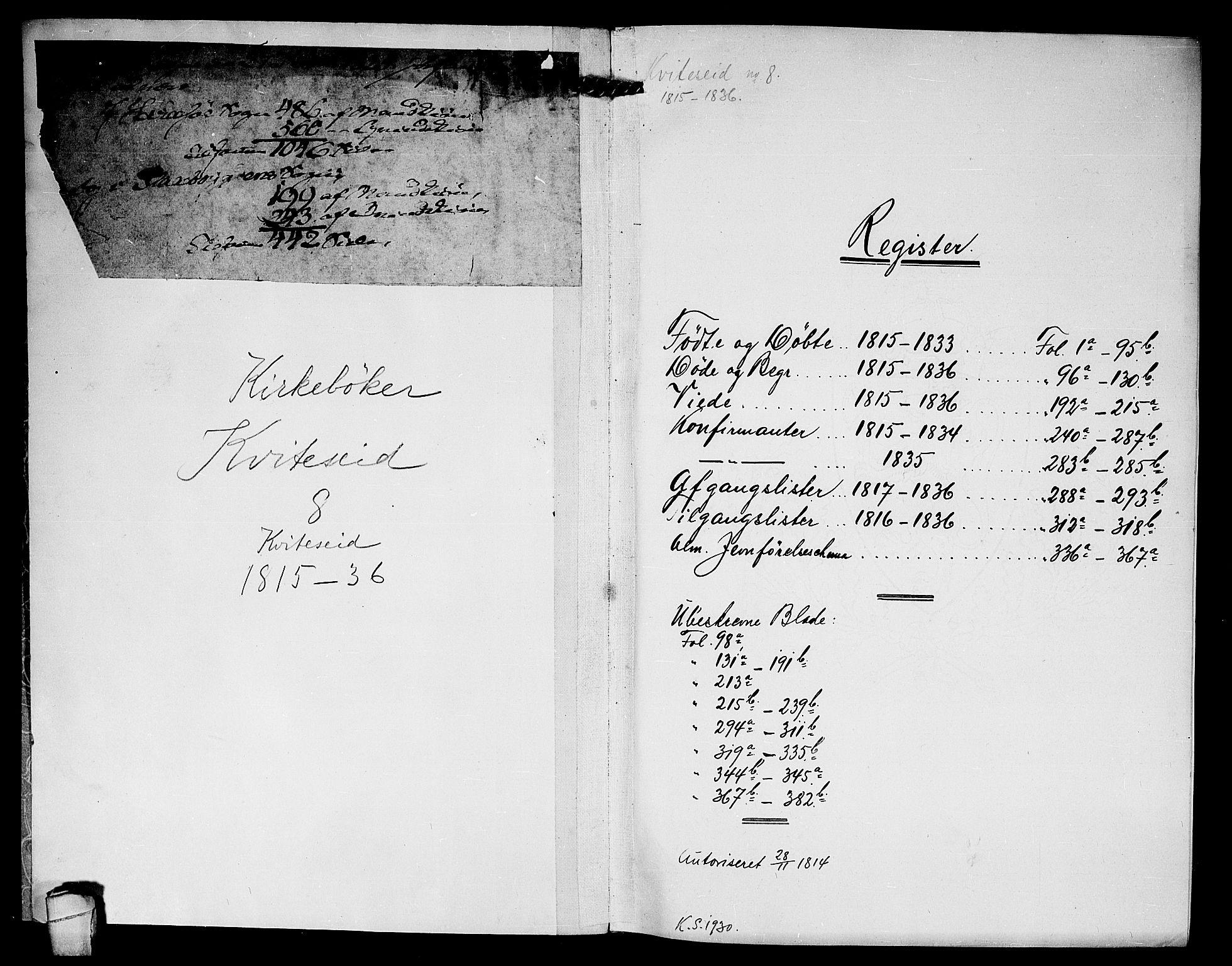 SAKO, Kviteseid kirkebøker, F/Fa/L0005: Ministerialbok nr. I 5, 1815-1836