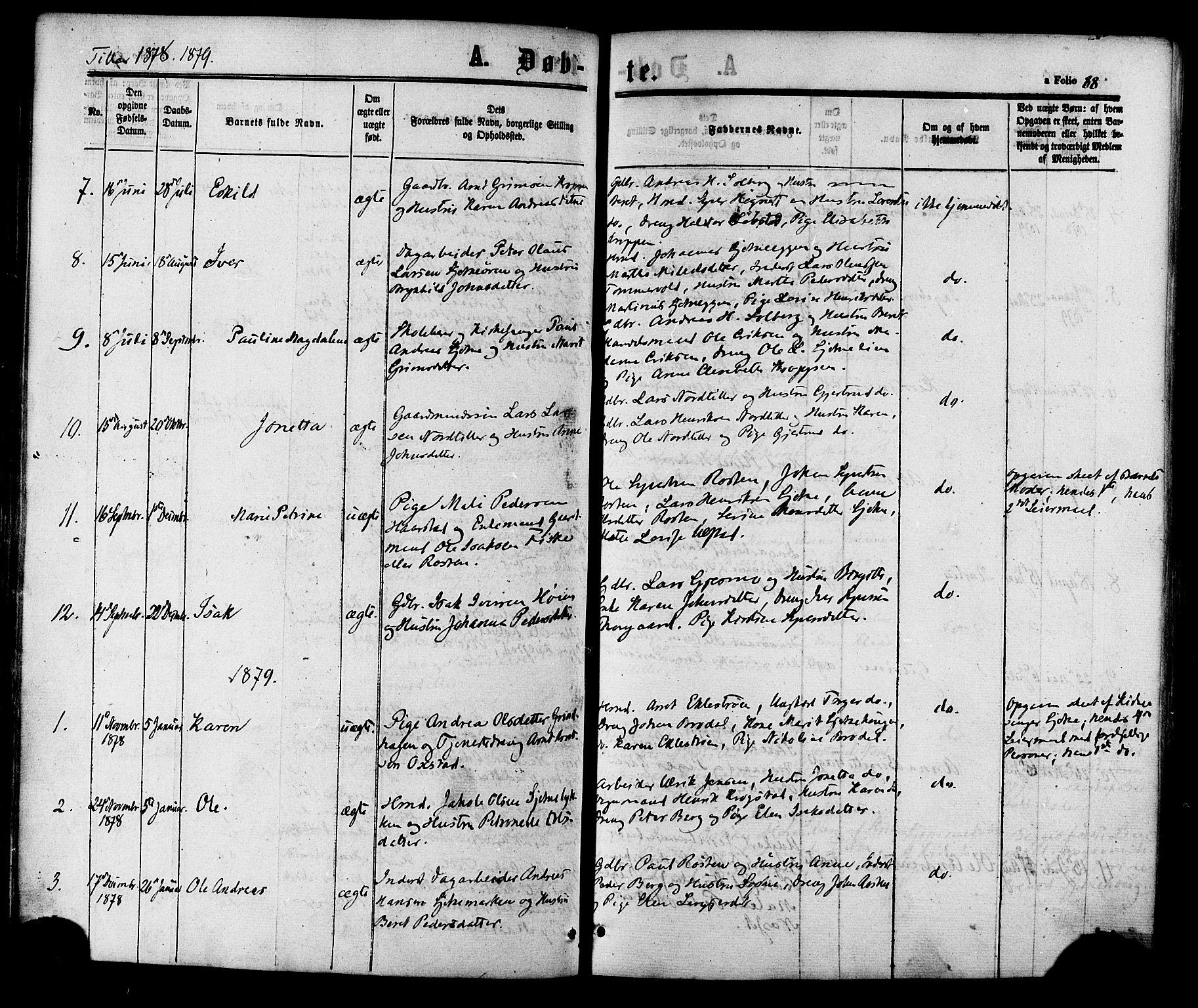 SAT, Ministerialprotokoller, klokkerbøker og fødselsregistre - Sør-Trøndelag, 618/L0443: Ministerialbok nr. 618A06 /2, 1863-1879, s. 88