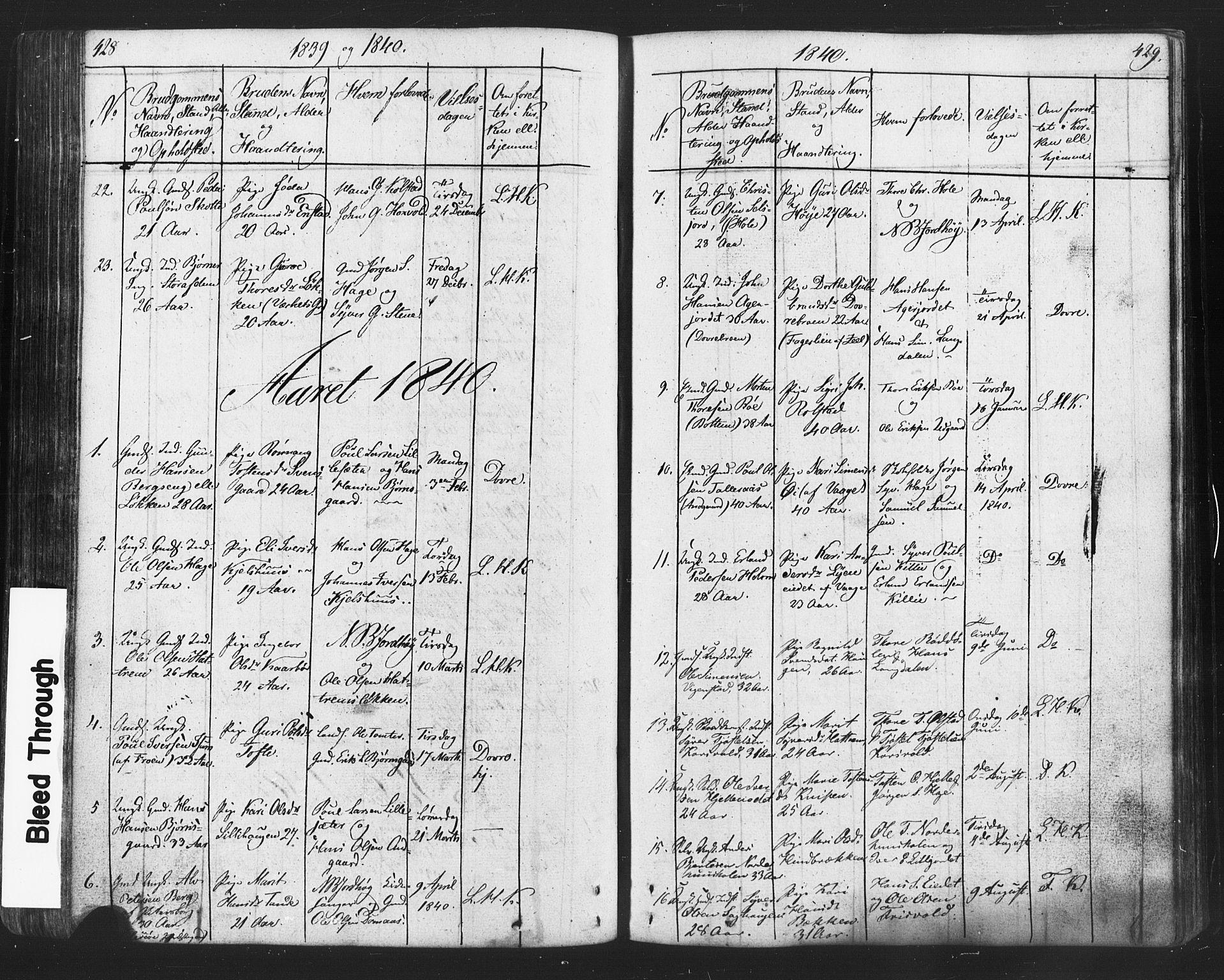 SAH, Lesja prestekontor, Klokkerbok nr. 2, 1832-1850, s. 428-429