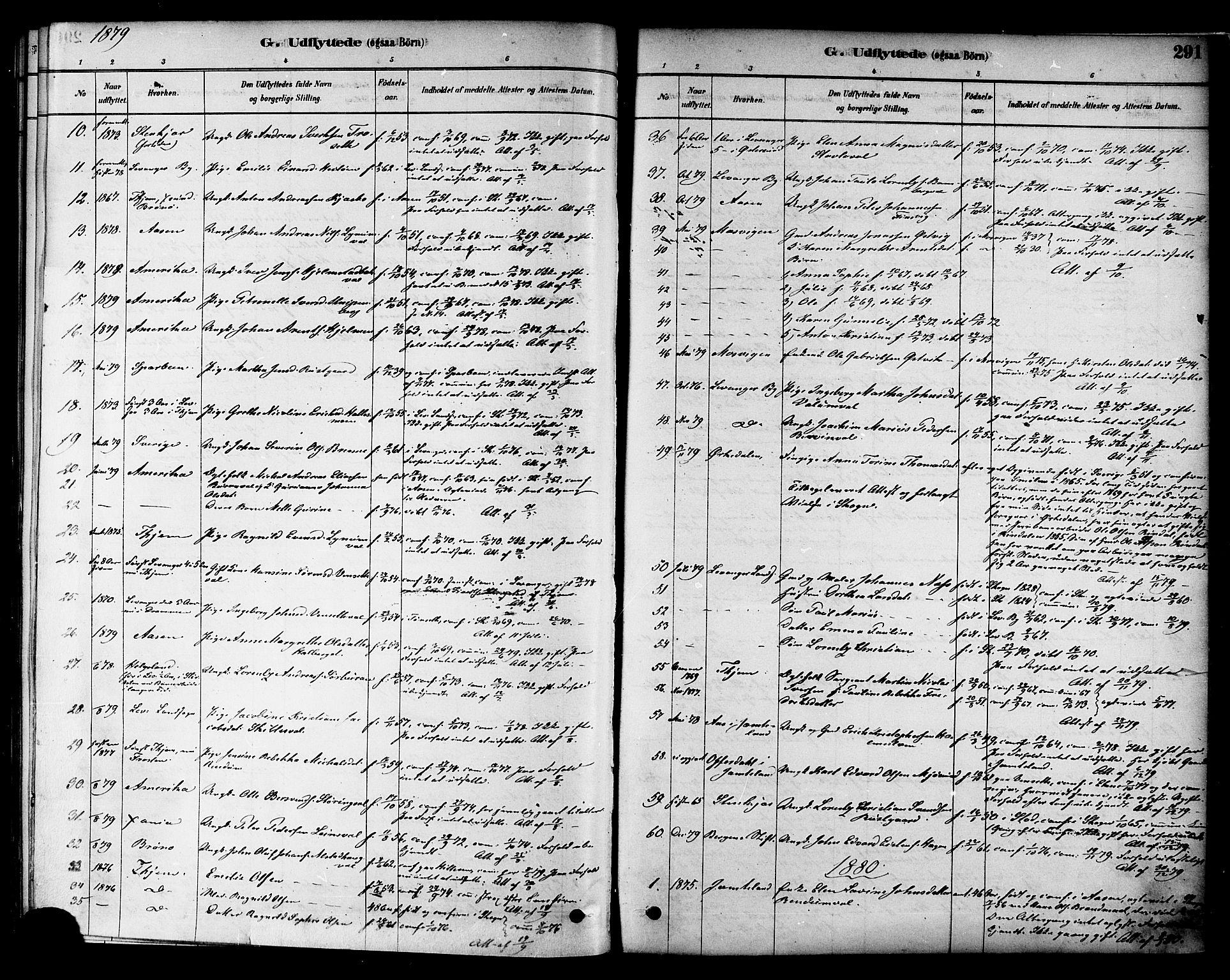 SAT, Ministerialprotokoller, klokkerbøker og fødselsregistre - Nord-Trøndelag, 717/L0159: Ministerialbok nr. 717A09, 1878-1898, s. 291
