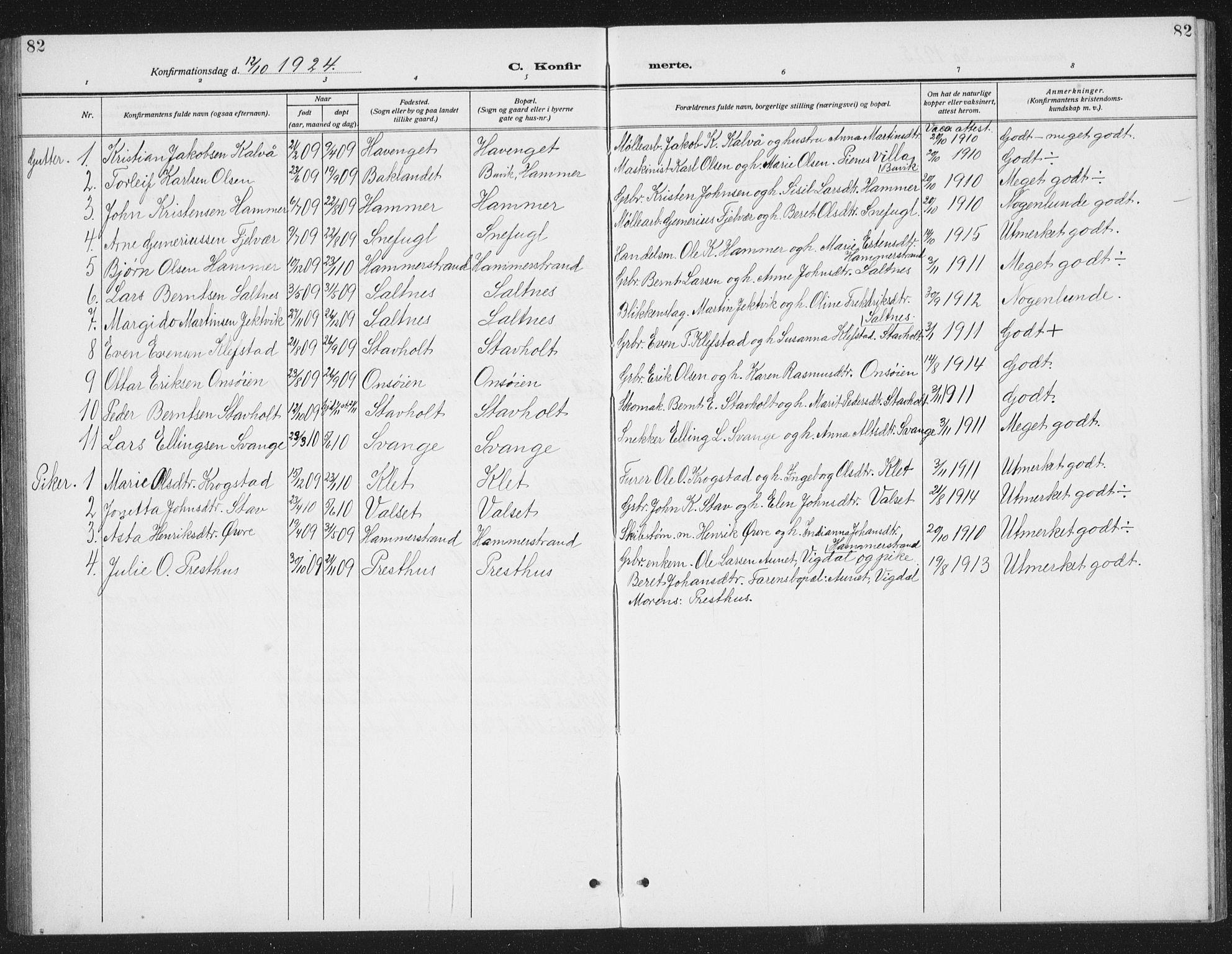SAT, Ministerialprotokoller, klokkerbøker og fødselsregistre - Sør-Trøndelag, 666/L0791: Klokkerbok nr. 666C04, 1909-1939, s. 82