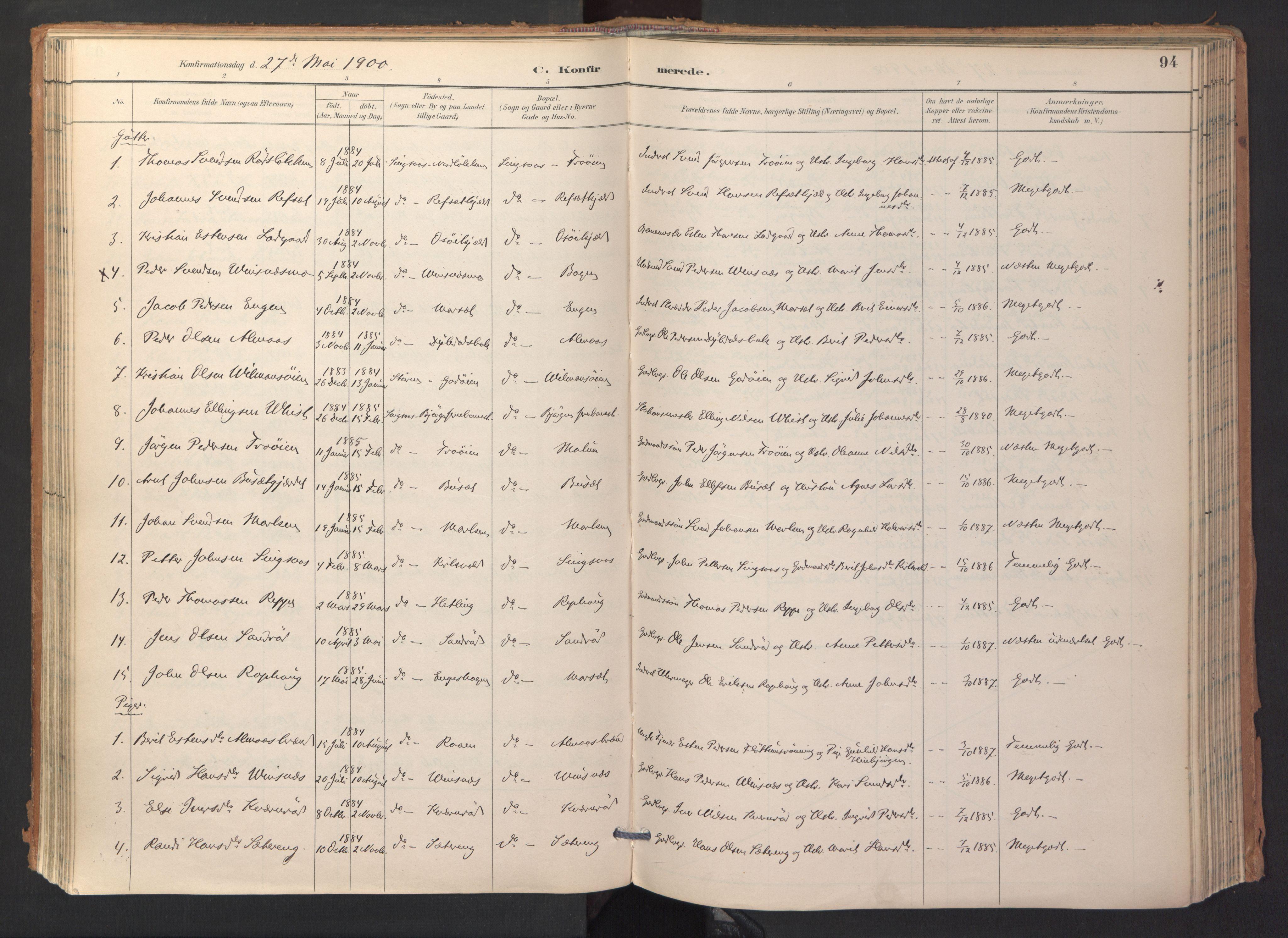 SAT, Ministerialprotokoller, klokkerbøker og fødselsregistre - Sør-Trøndelag, 688/L1025: Ministerialbok nr. 688A02, 1891-1909, s. 94