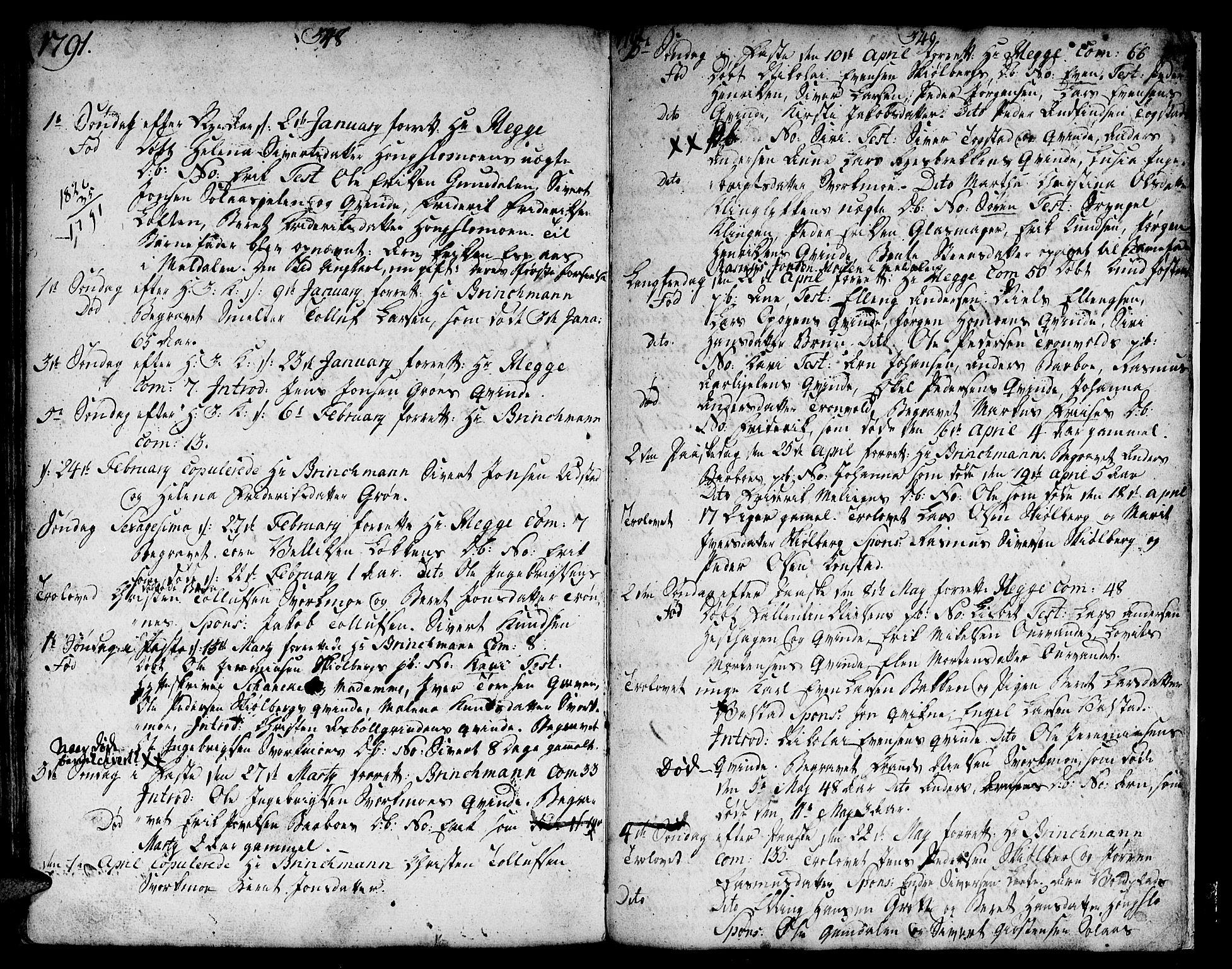 SAT, Ministerialprotokoller, klokkerbøker og fødselsregistre - Sør-Trøndelag, 671/L0840: Ministerialbok nr. 671A02, 1756-1794, s. 348-349