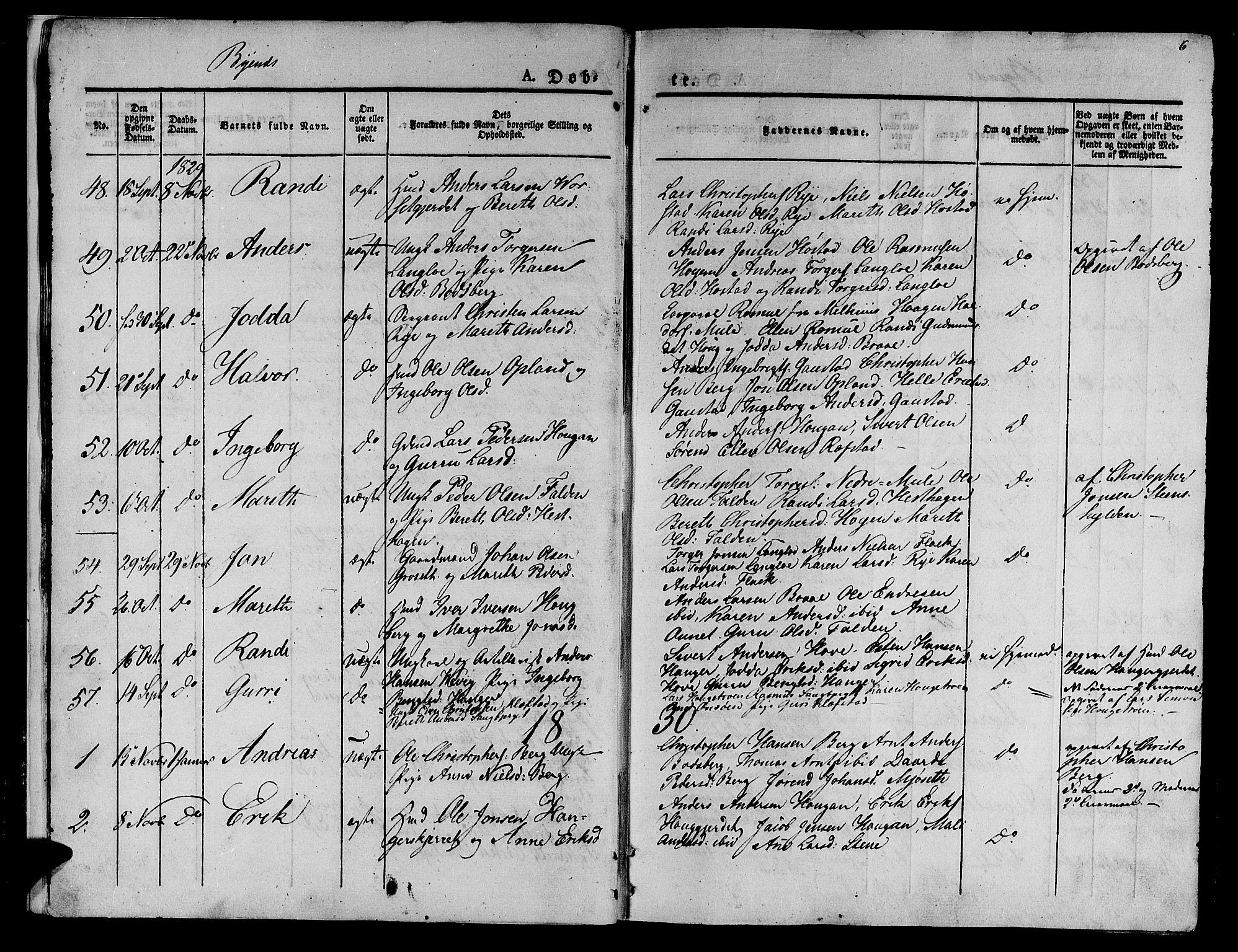 SAT, Ministerialprotokoller, klokkerbøker og fødselsregistre - Sør-Trøndelag, 612/L0374: Ministerialbok nr. 612A07 /1, 1829-1845, s. 6