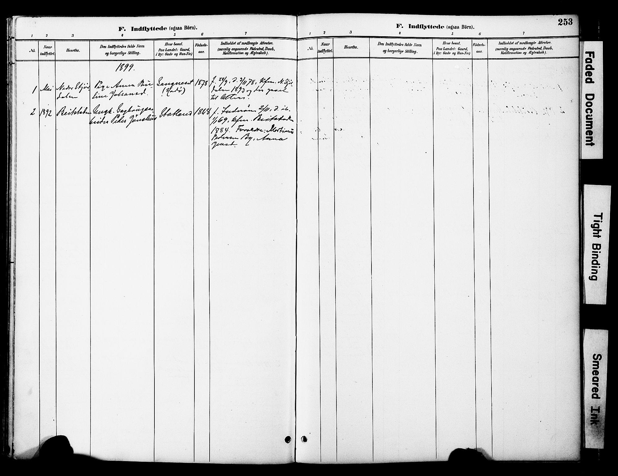 SAT, Ministerialprotokoller, klokkerbøker og fødselsregistre - Nord-Trøndelag, 774/L0628: Ministerialbok nr. 774A02, 1887-1903, s. 253
