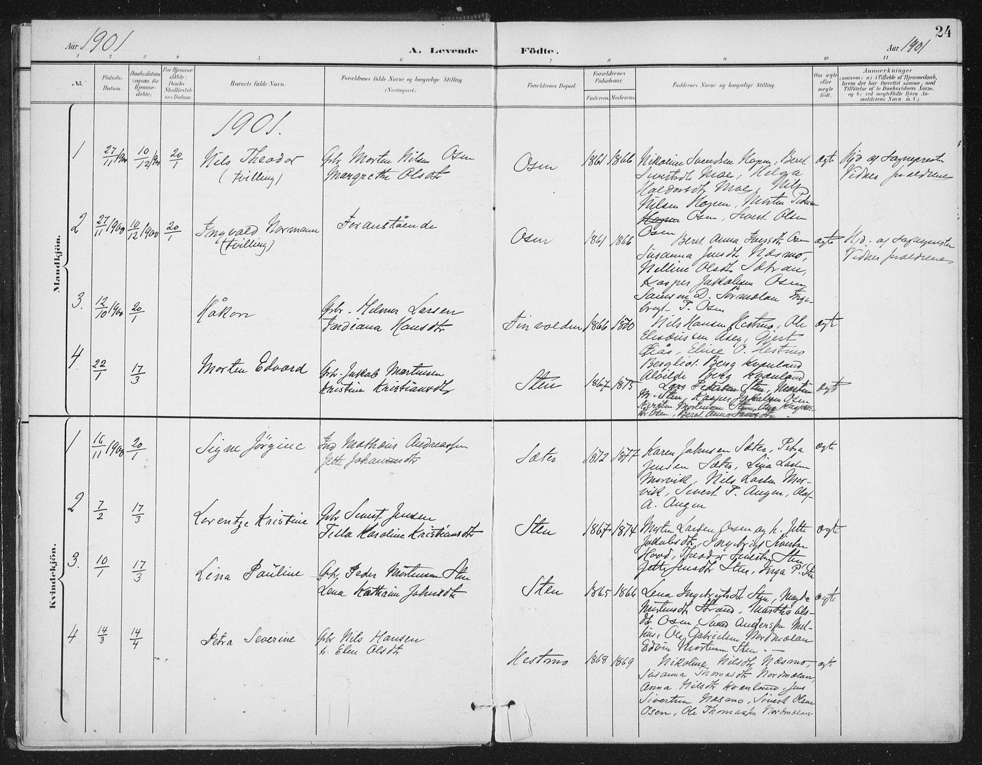 SAT, Ministerialprotokoller, klokkerbøker og fødselsregistre - Sør-Trøndelag, 658/L0723: Ministerialbok nr. 658A02, 1897-1912, s. 24