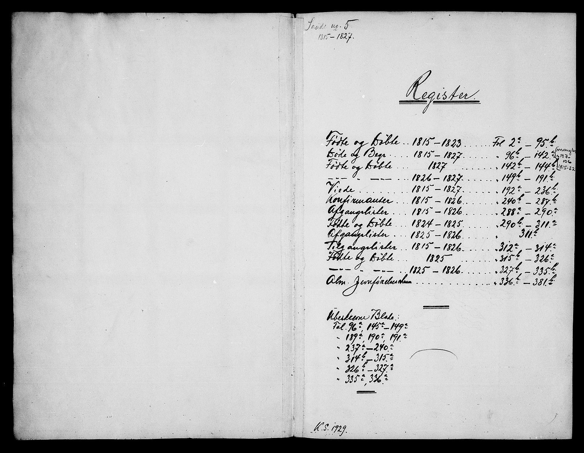 SAKO, Sauherad kirkebøker, G/Ga/L0001: Klokkerbok nr. I 1, 1815-1827