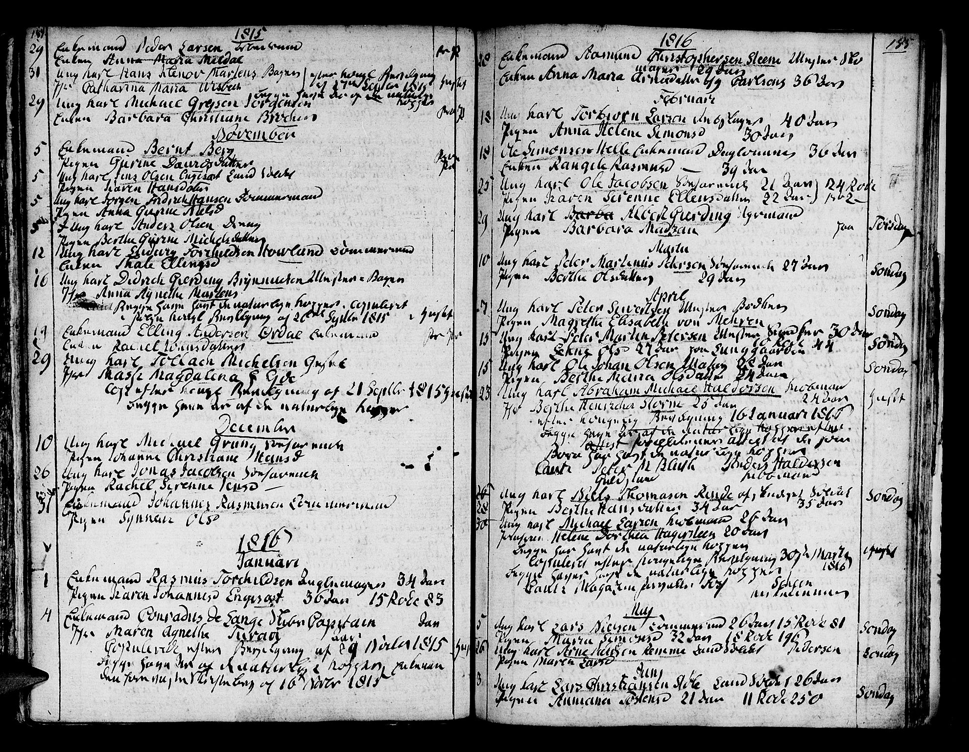 SAB, Domkirken Sokneprestembete, H/Haa/L0007: Ministerialbok nr. A 7, 1725-1826, s. 184-185
