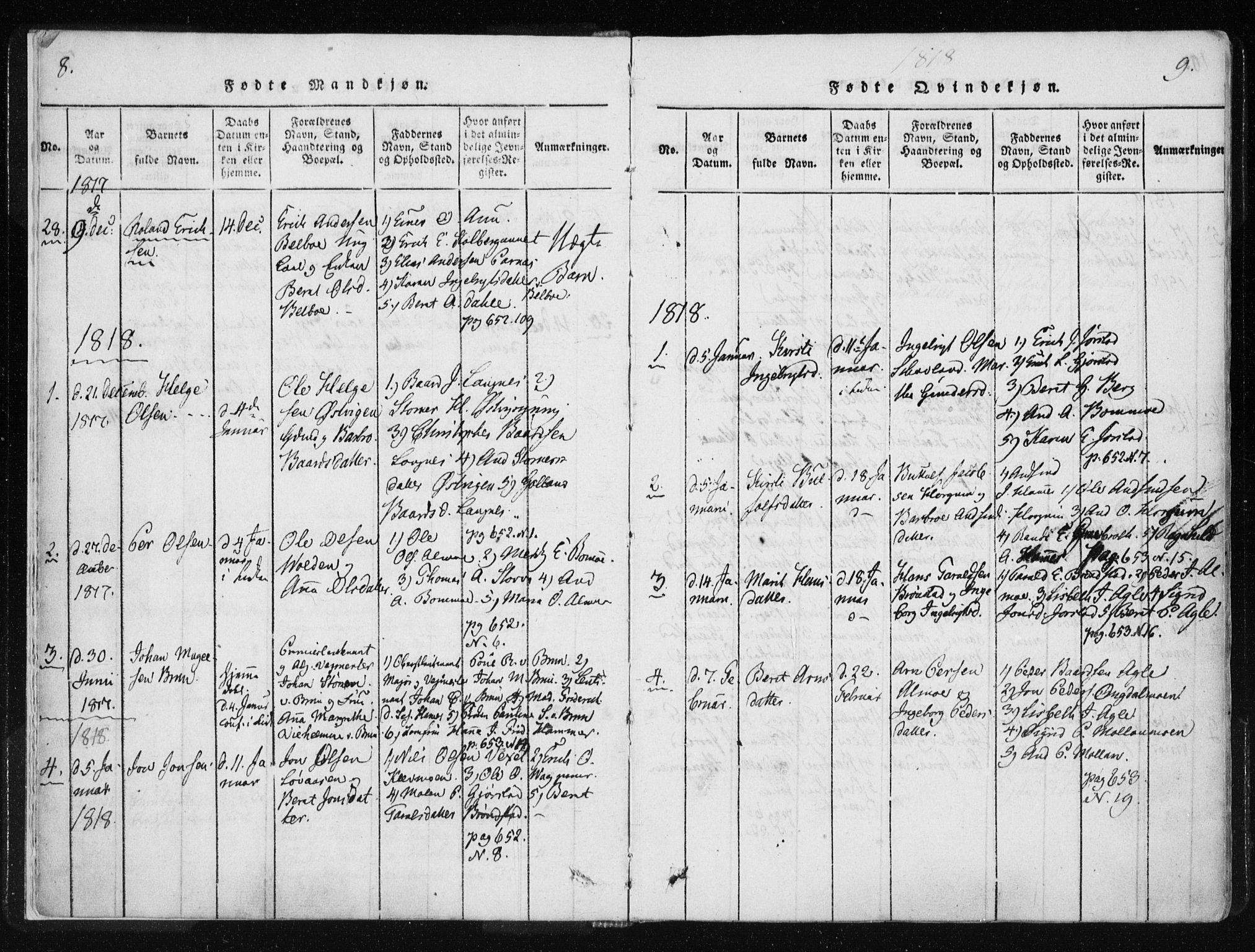 SAT, Ministerialprotokoller, klokkerbøker og fødselsregistre - Nord-Trøndelag, 749/L0469: Ministerialbok nr. 749A03, 1817-1857, s. 8-9