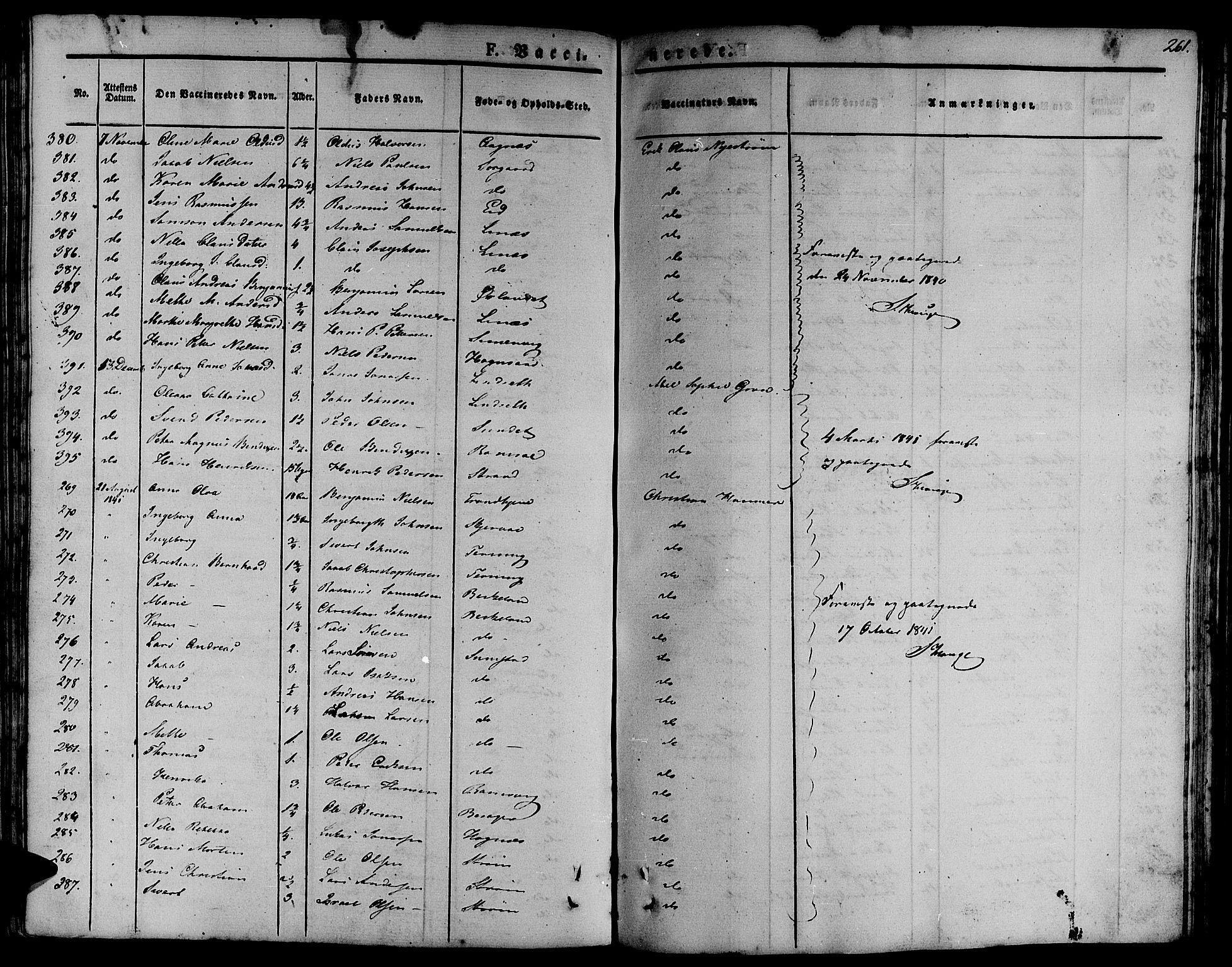 SAT, Ministerialprotokoller, klokkerbøker og fødselsregistre - Sør-Trøndelag, 657/L0703: Ministerialbok nr. 657A04, 1831-1846, s. 261