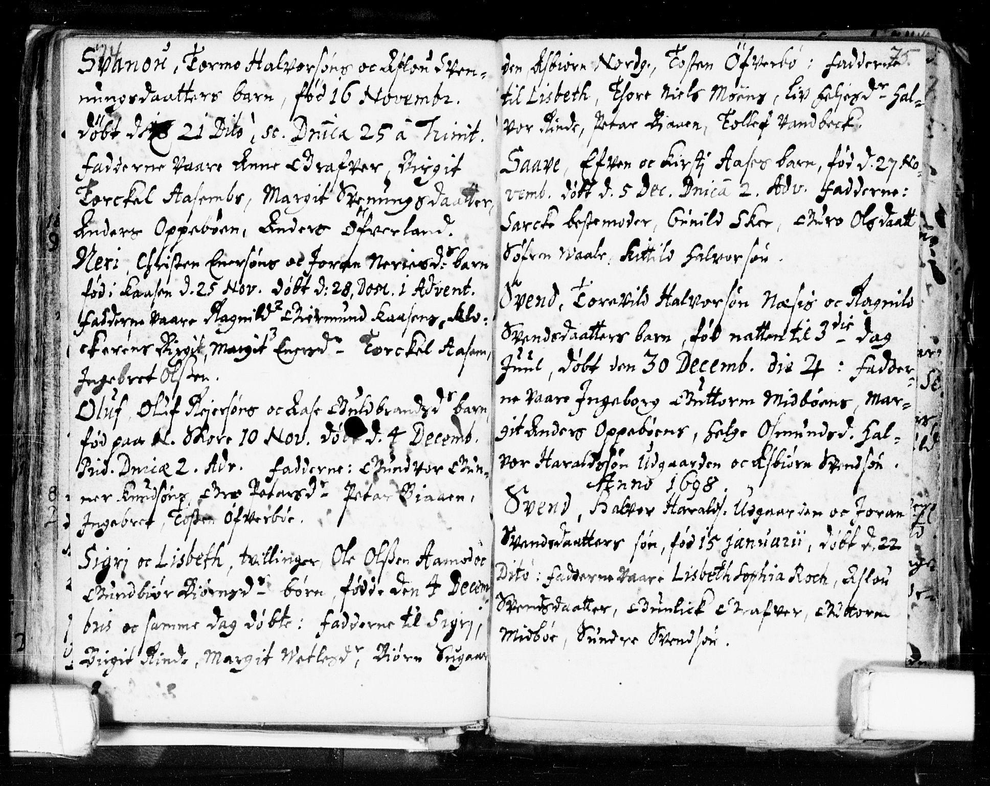 SAKO, Seljord kirkebøker, F/Fa/L0002: Ministerialbok nr. I 2, 1689-1713, s. 74-75