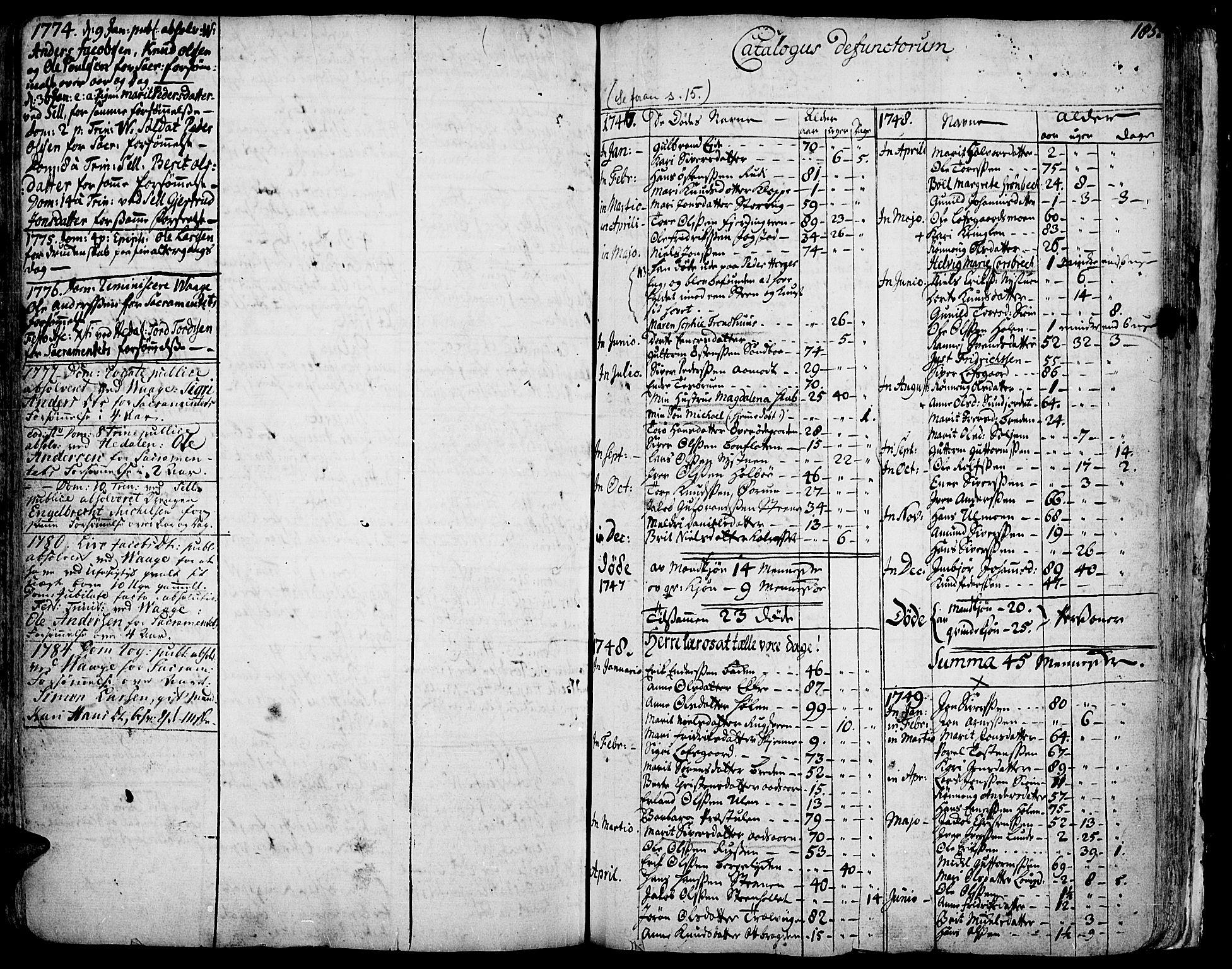 SAH, Vågå prestekontor, Ministerialbok nr. 1, 1739-1810, s. 185