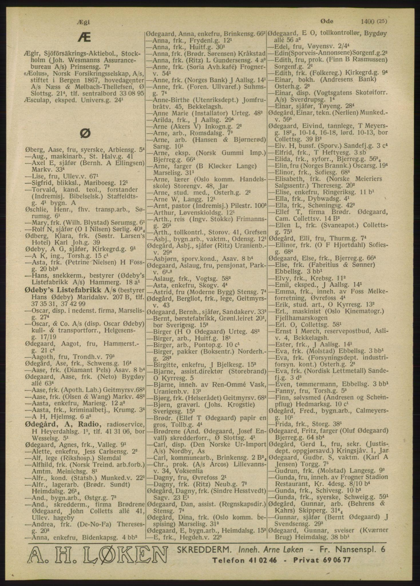 RA, Oslo adressebok (publikasjon)*, 1947, s. 1425