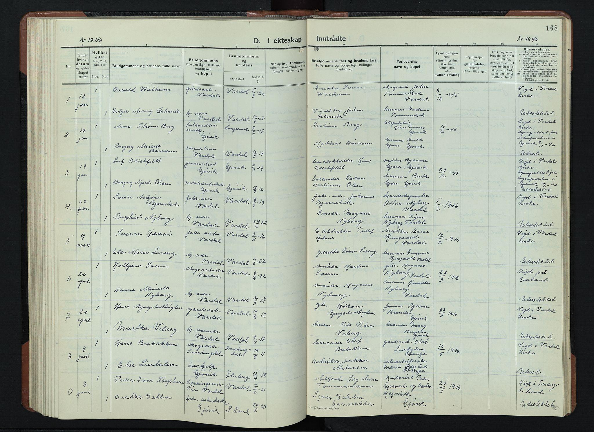 SAH, Vardal prestekontor, H/Ha/Hab/L0018: Klokkerbok nr. 18, 1931-1951, s. 168