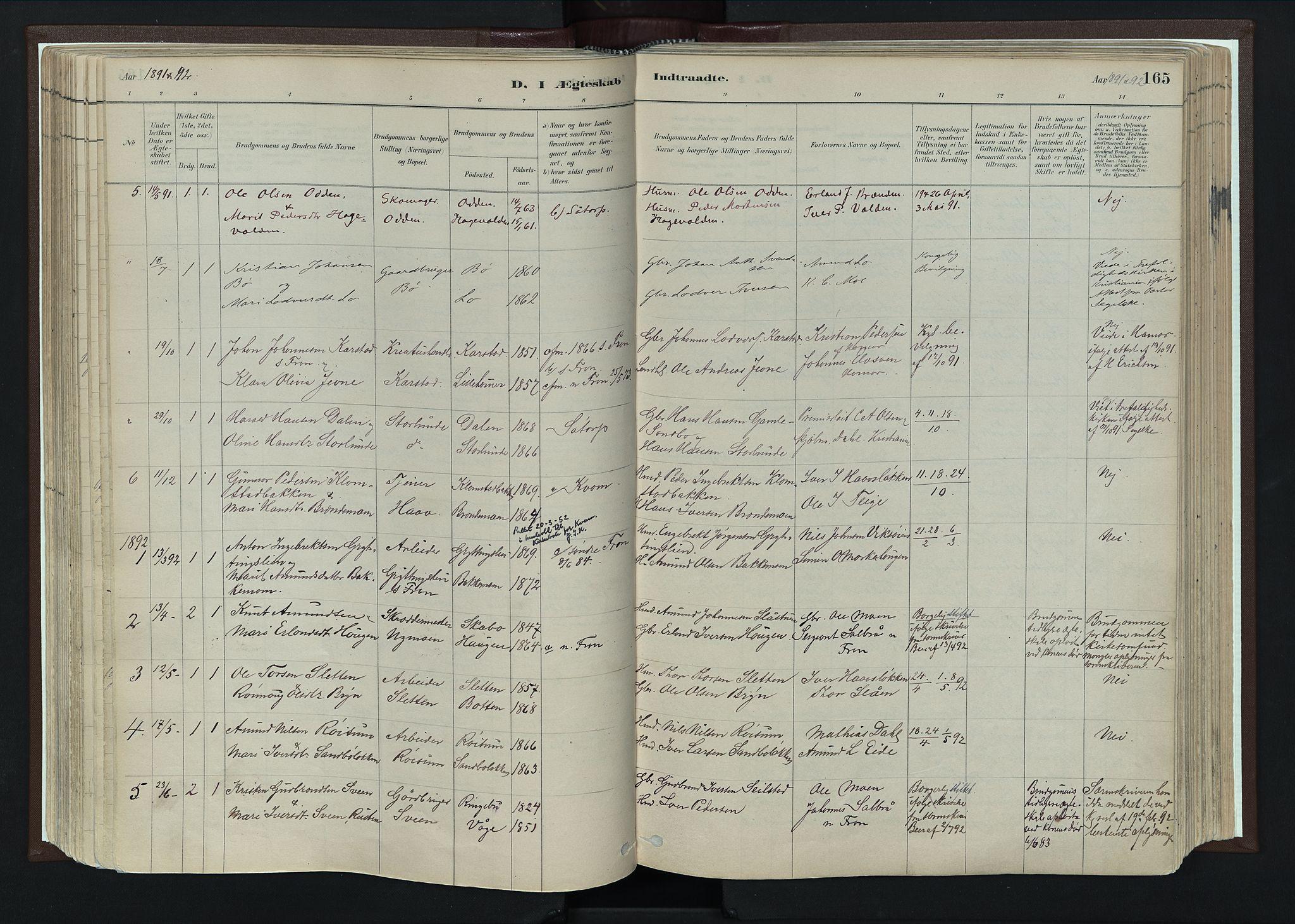 SAH, Nord-Fron prestekontor, Ministerialbok nr. 4, 1884-1914, s. 165