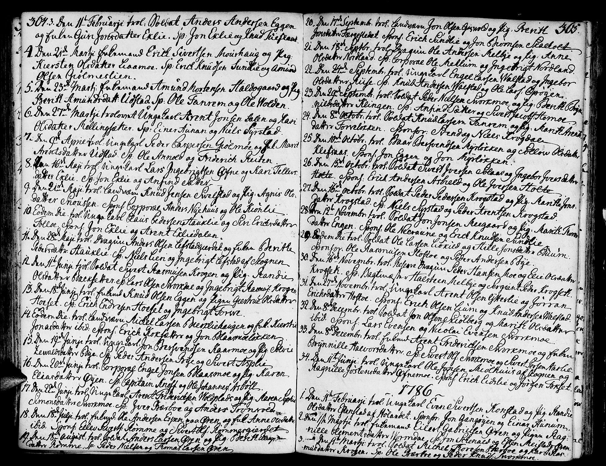 SAT, Ministerialprotokoller, klokkerbøker og fødselsregistre - Sør-Trøndelag, 668/L0802: Ministerialbok nr. 668A02, 1776-1799, s. 364-365