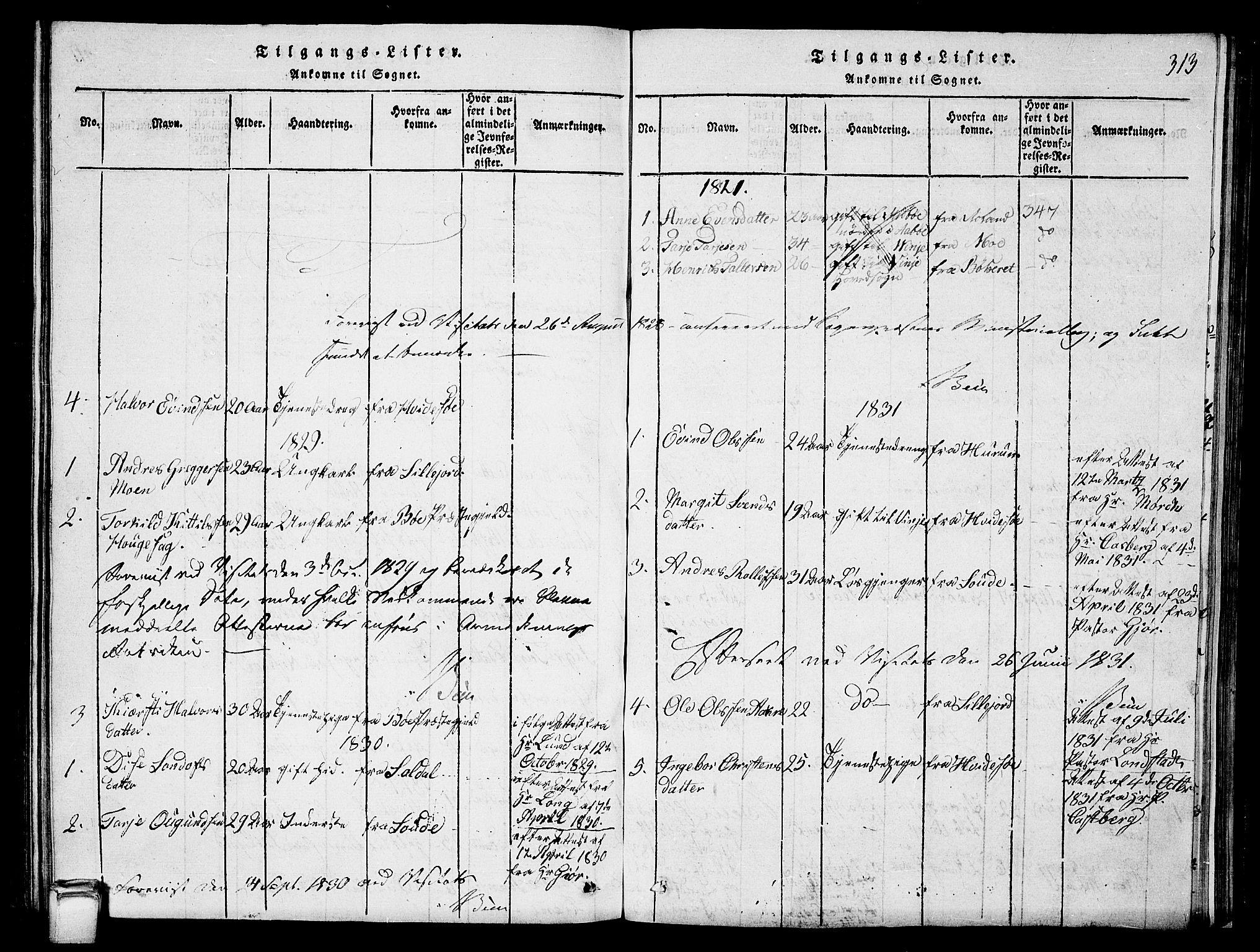 SAKO, Vinje kirkebøker, G/Ga/L0001: Klokkerbok nr. I 1, 1814-1843, s. 313