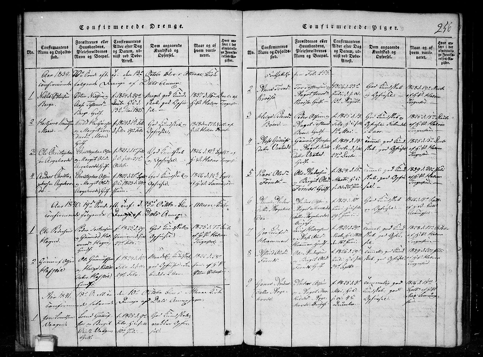 SAKO, Tinn kirkebøker, G/Gc/L0001: Klokkerbok nr. III 1, 1815-1879, s. 256