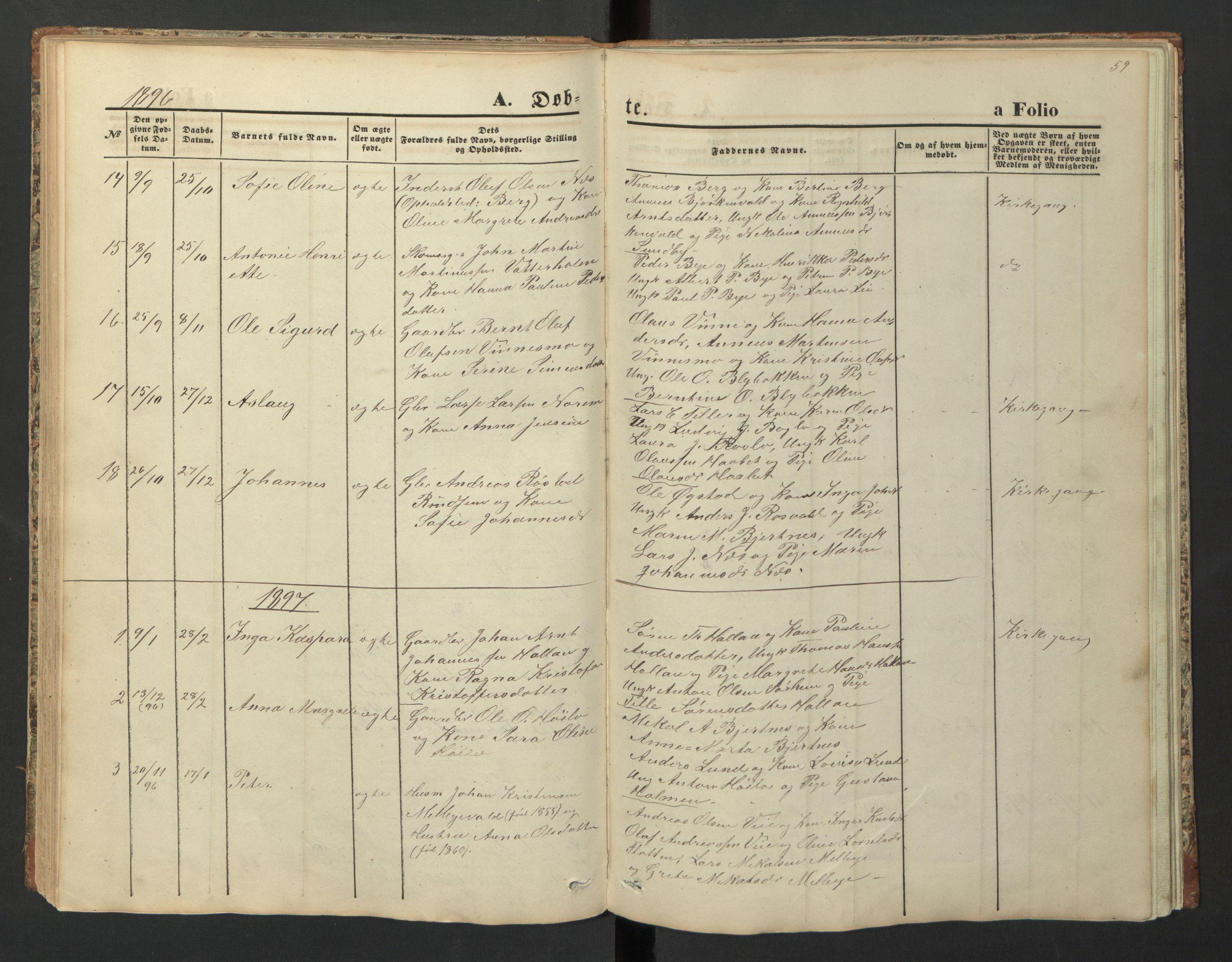SAT, Ministerialprotokoller, klokkerbøker og fødselsregistre - Nord-Trøndelag, 726/L0271: Klokkerbok nr. 726C02, 1869-1897, s. 59