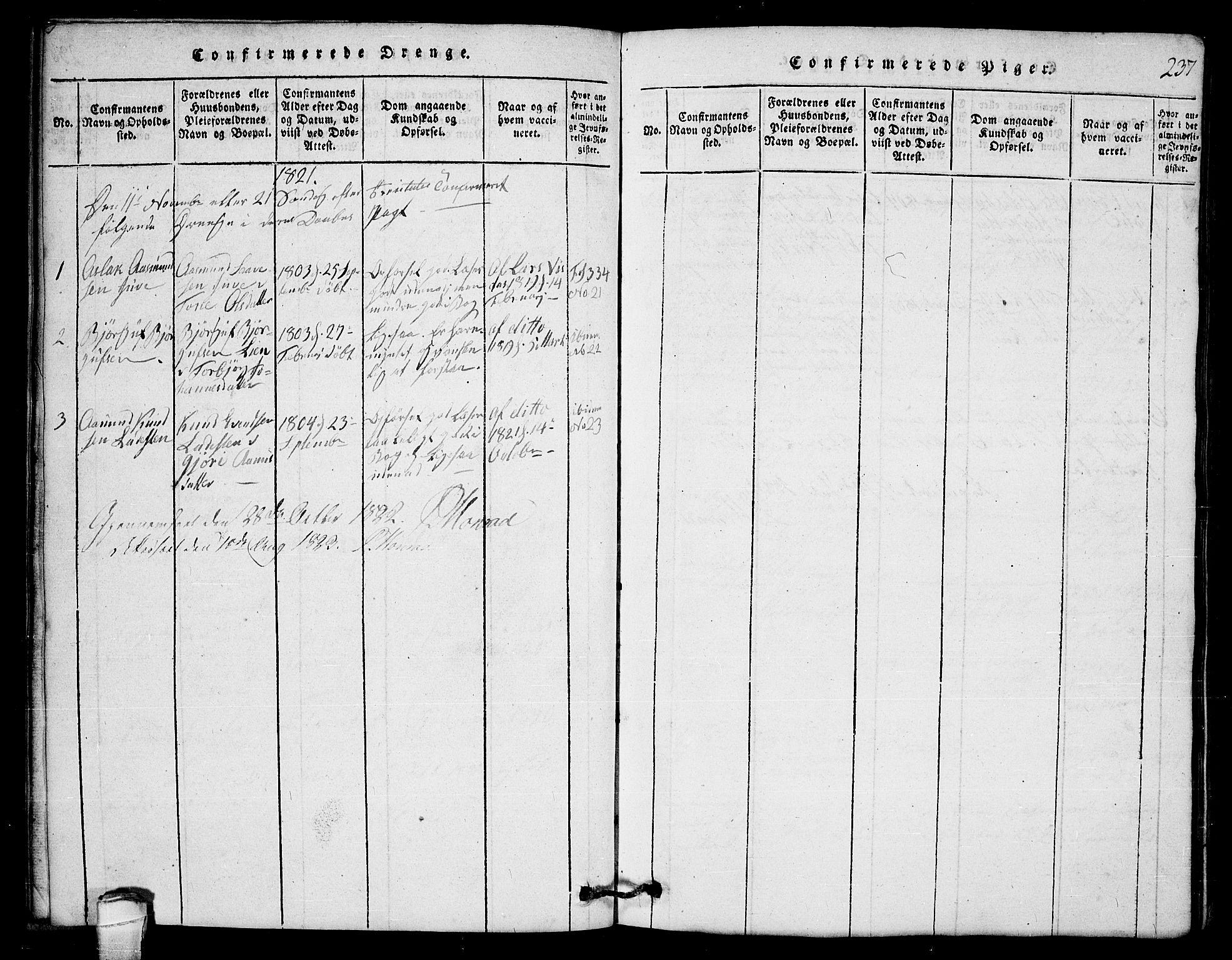 SAKO, Lårdal kirkebøker, G/Gb/L0001: Klokkerbok nr. II 1, 1815-1865, s. 237