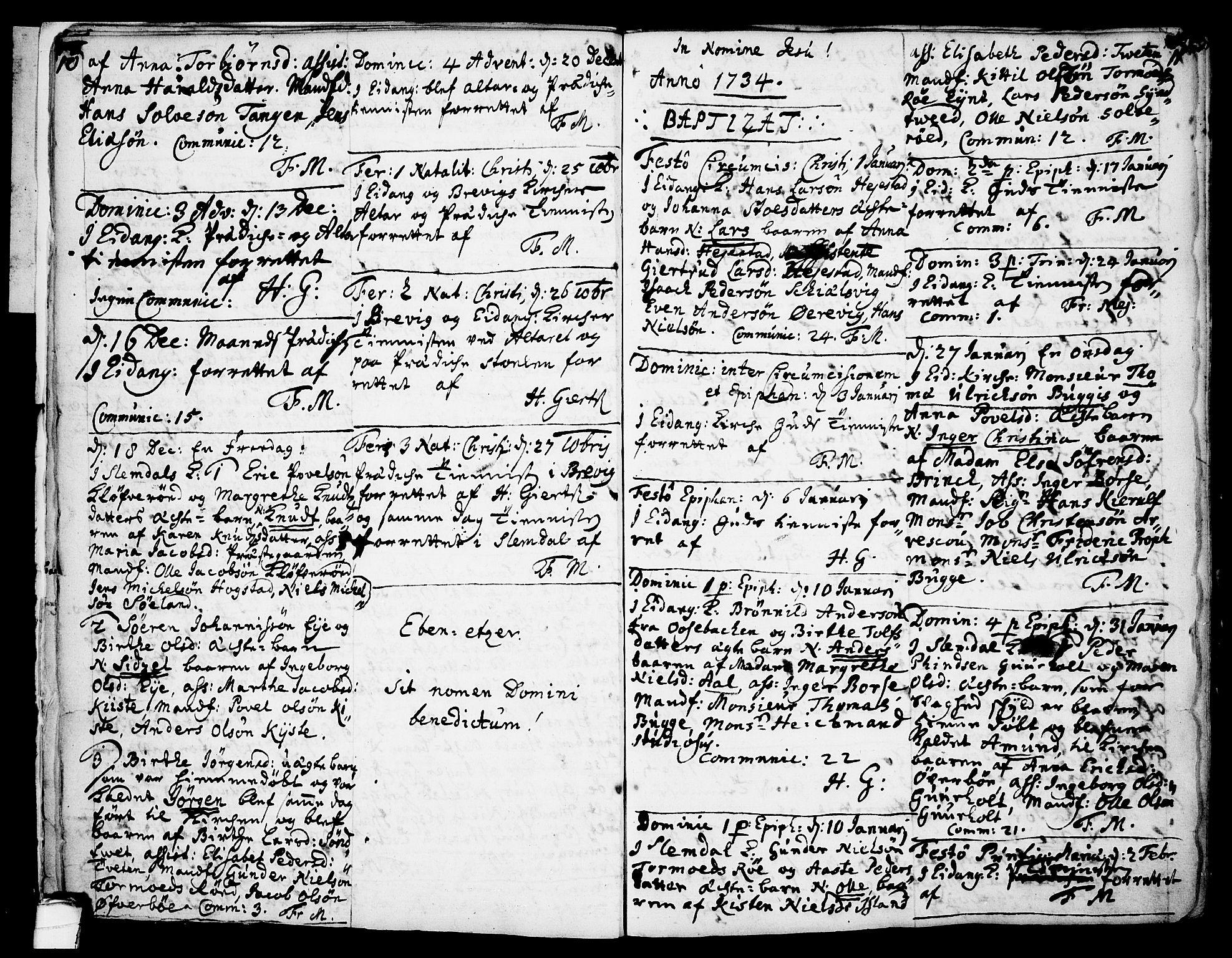 SAKO, Eidanger kirkebøker, F/Fa/L0004: Ministerialbok nr. 4, 1733-1759, s. 10-11