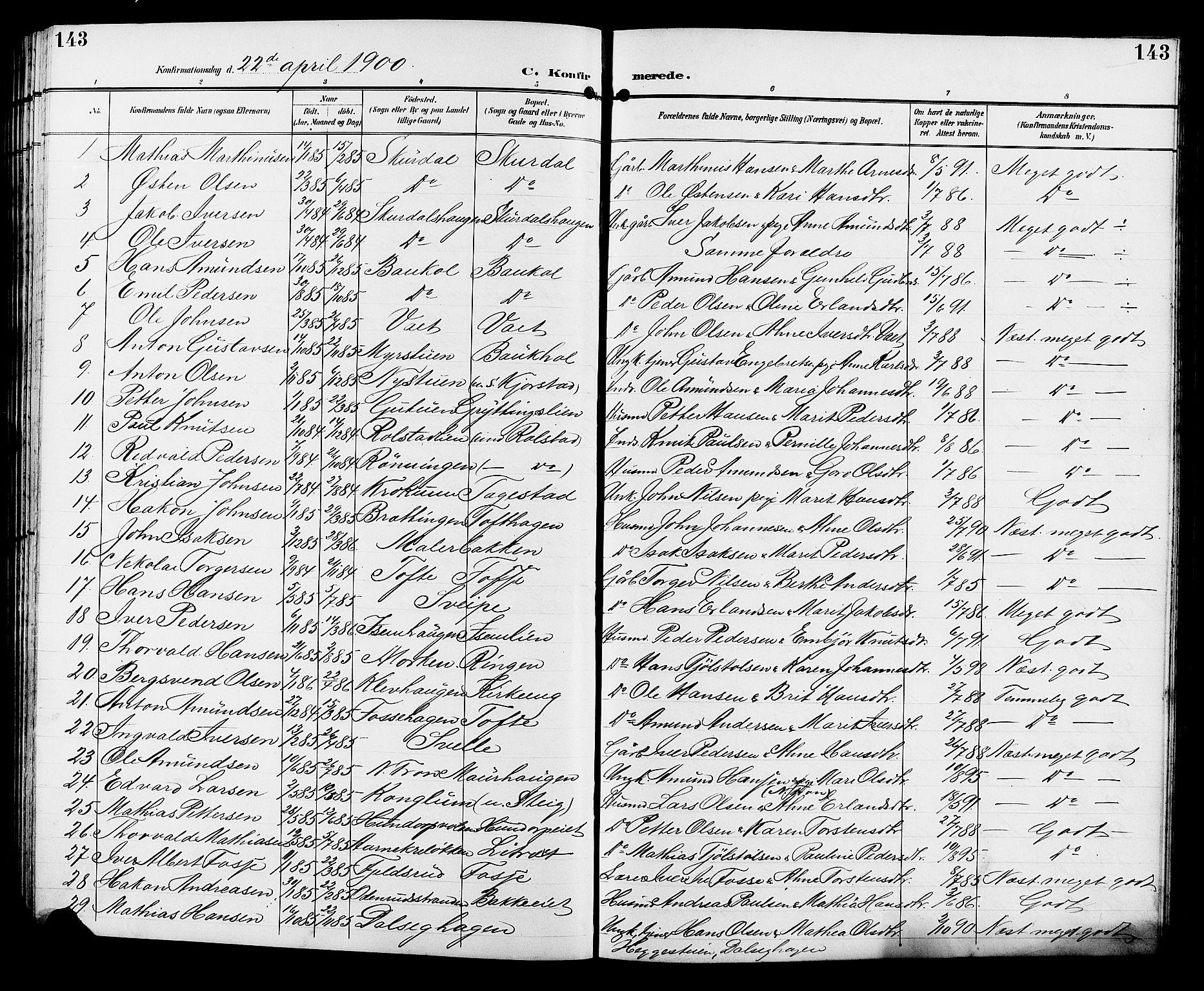 SAH, Sør-Fron prestekontor, H/Ha/Hab/L0004: Klokkerbok nr. 4, 1896-1911, s. 143