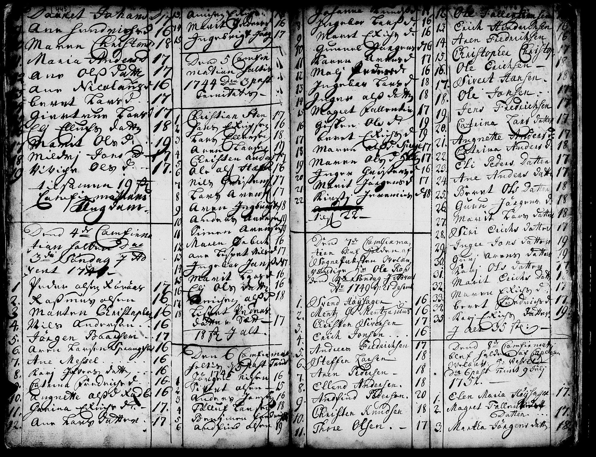 SAT, Ministerialprotokoller, klokkerbøker og fødselsregistre - Sør-Trøndelag, 671/L0839: Ministerialbok nr. 671A01, 1730-1755, s. 445-446