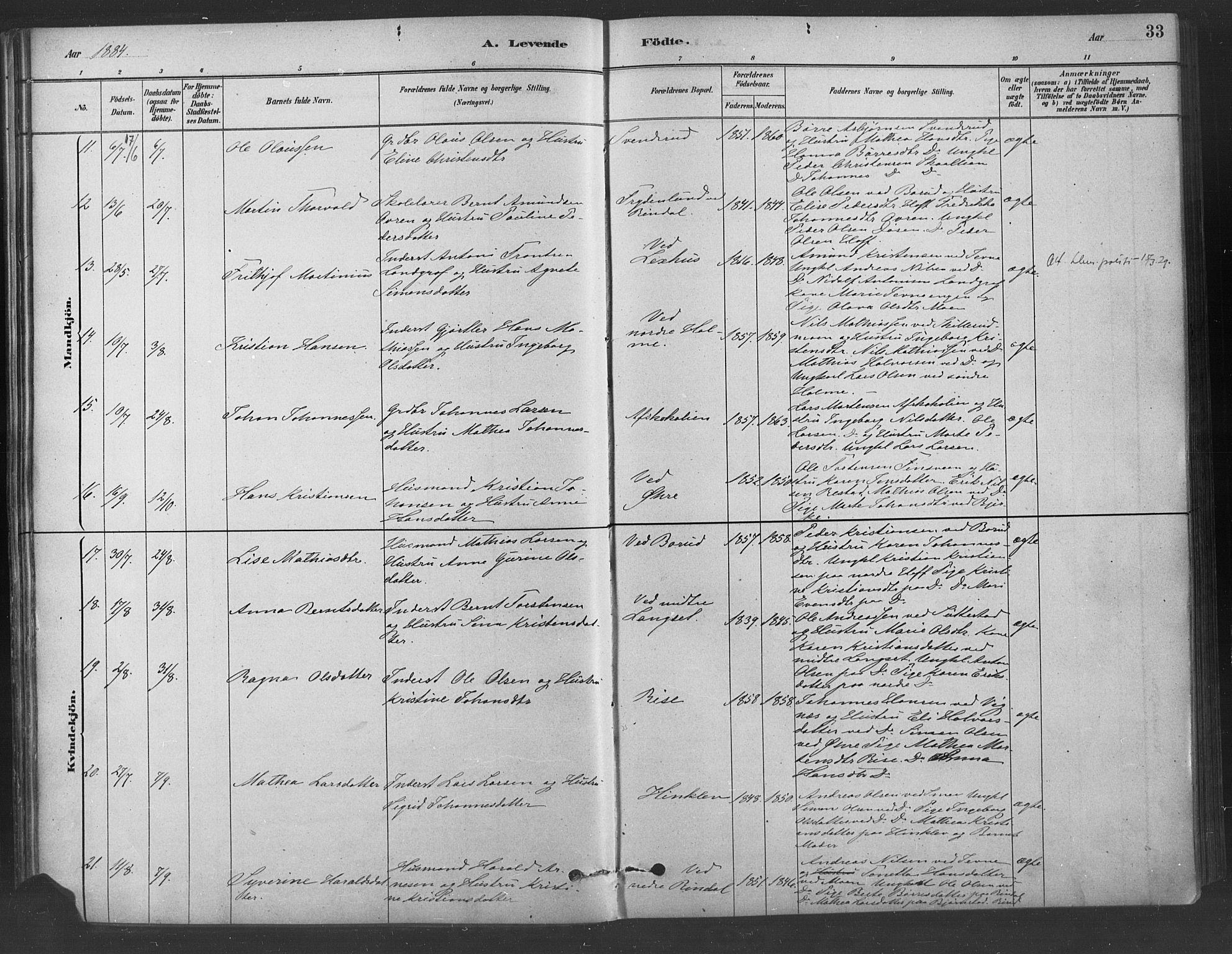 SAH, Fåberg prestekontor, Ministerialbok nr. 9, 1879-1898, s. 33