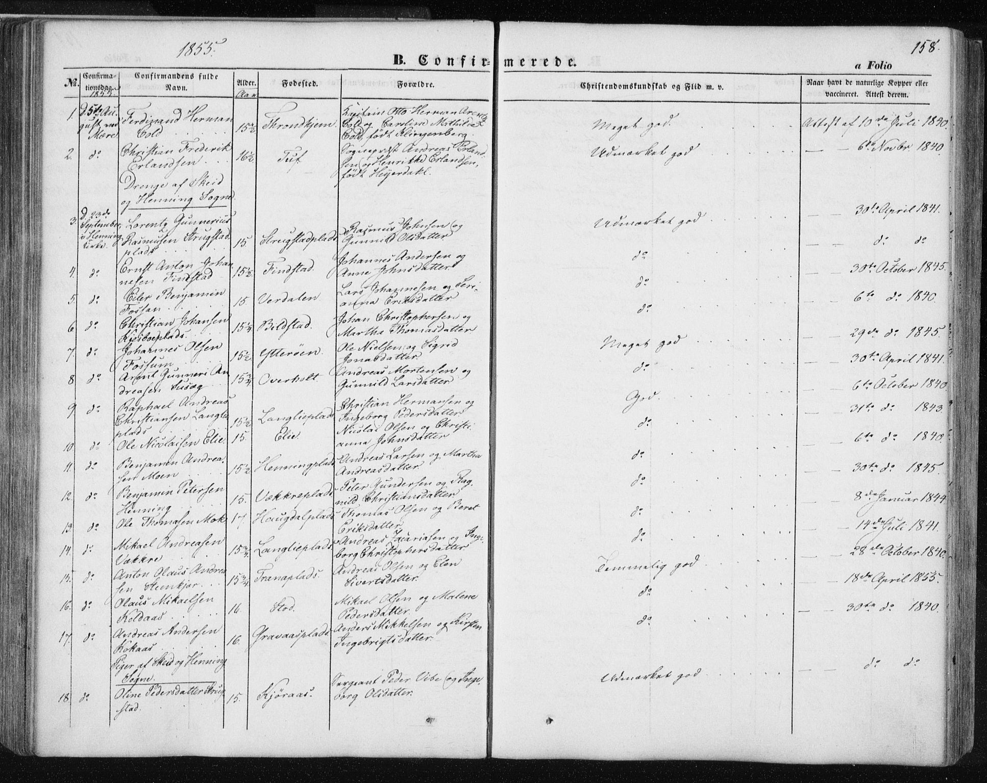 SAT, Ministerialprotokoller, klokkerbøker og fødselsregistre - Nord-Trøndelag, 735/L0342: Ministerialbok nr. 735A07 /1, 1849-1862, s. 158