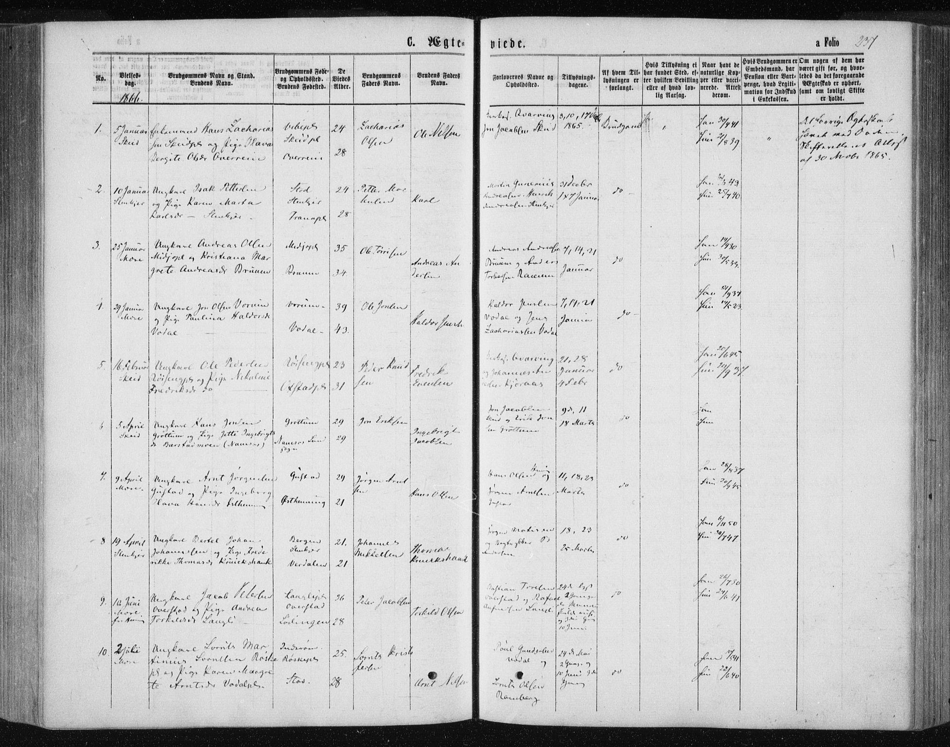 SAT, Ministerialprotokoller, klokkerbøker og fødselsregistre - Nord-Trøndelag, 735/L0345: Ministerialbok nr. 735A08 /1, 1863-1872, s. 237