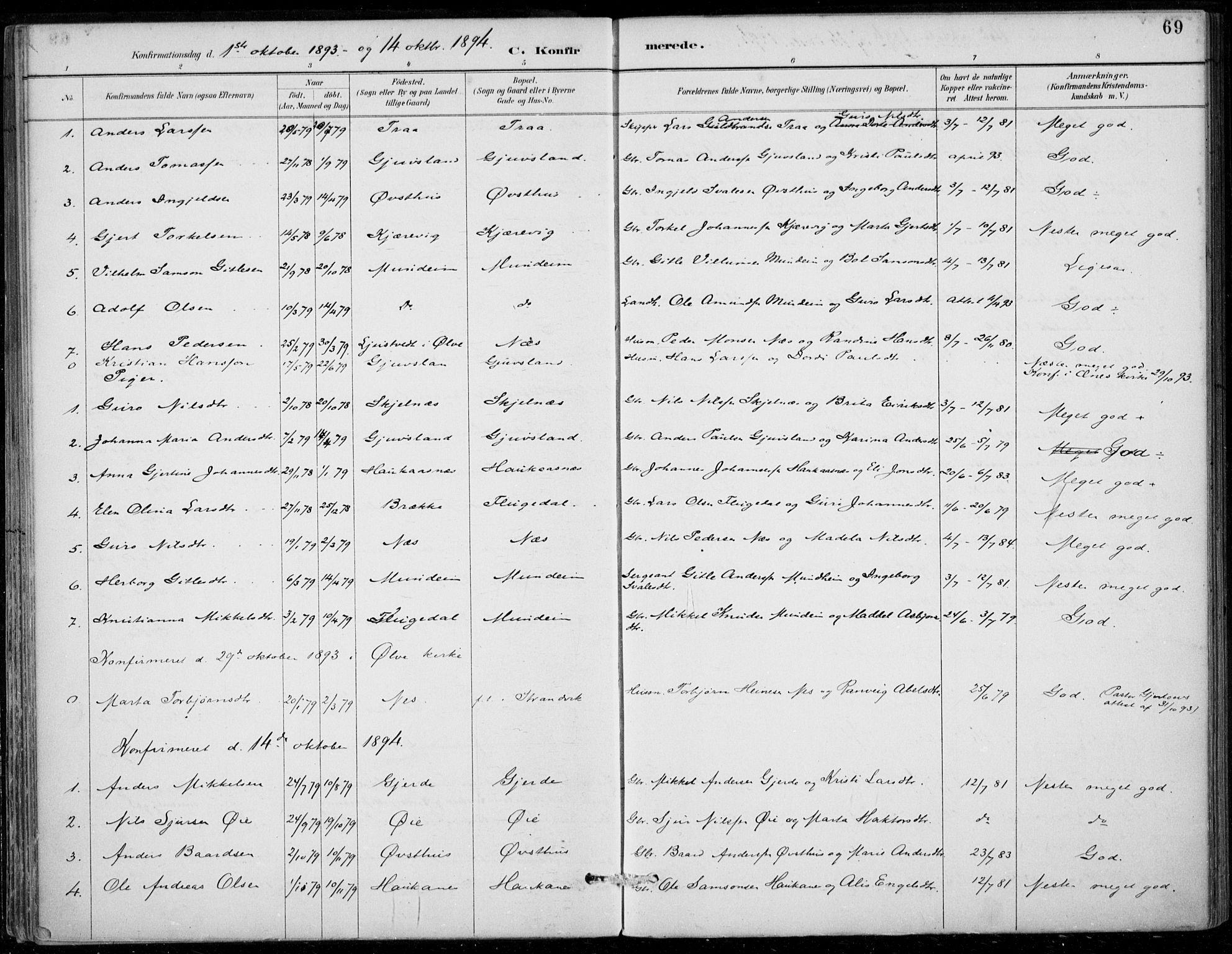 SAB, Strandebarm sokneprestembete, H/Haa: Ministerialbok nr. D  1, 1886-1912, s. 69