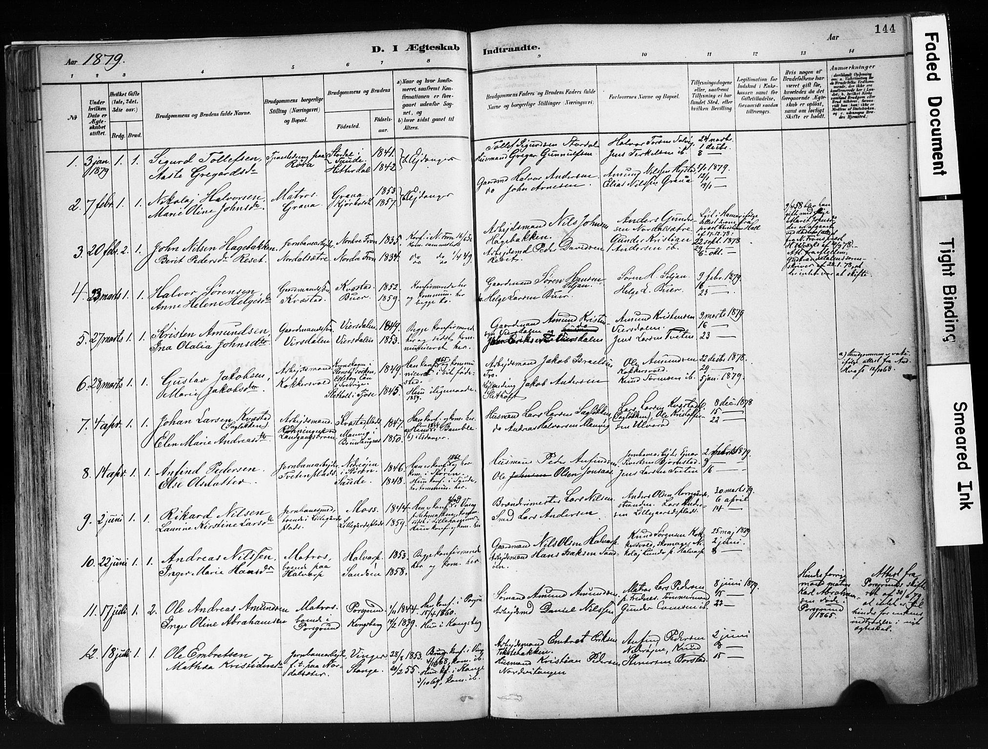 SAKO, Eidanger kirkebøker, F/Fa/L0012: Ministerialbok nr. 12, 1879-1900, s. 144