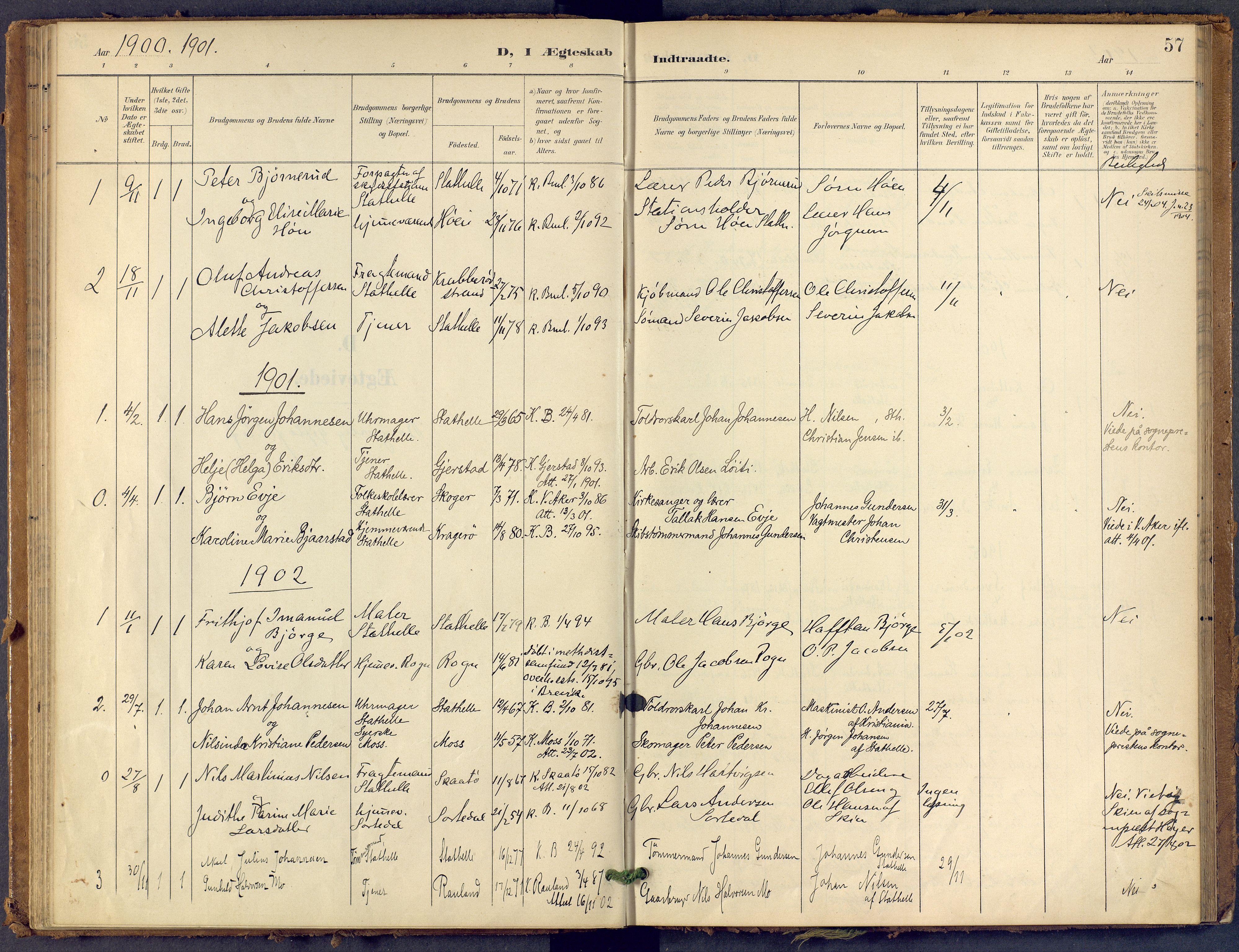 SAKO, Bamble kirkebøker, F/Fb/L0002: Ministerialbok nr. II 2, 1900-1921, s. 57